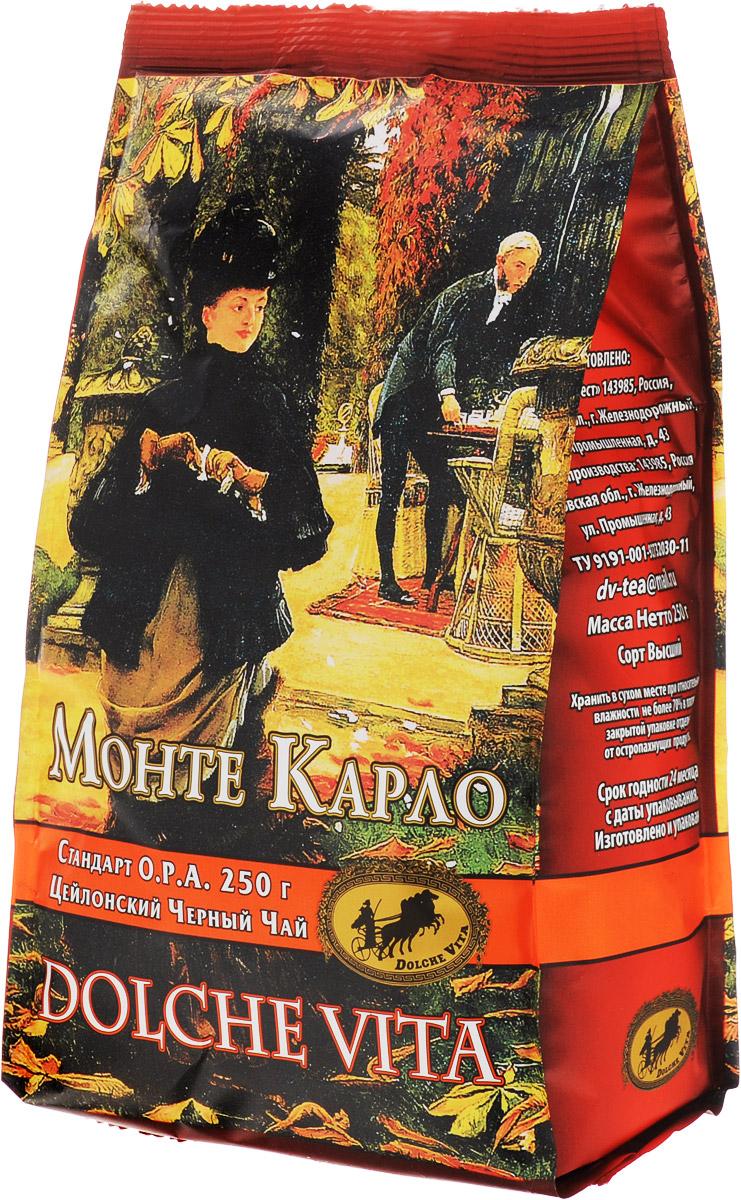 Dolche Vita Монте Карло черный листовой чай, 250 г101246Цейлонский крупнолистовой черный байховый чай Dolche Vita Монте Карло. Стандарт O.P.A.