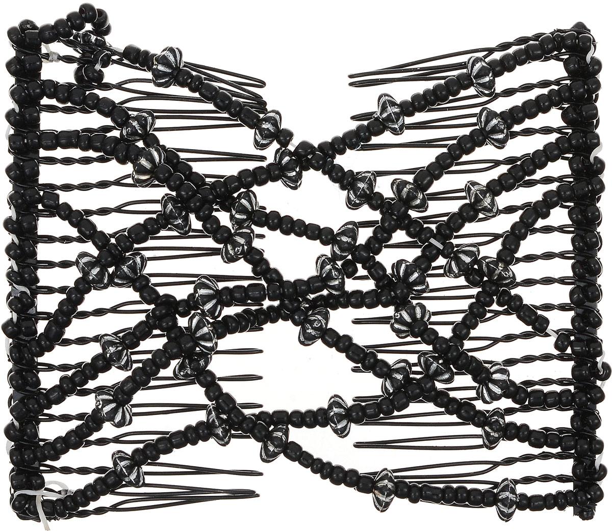 EZ-Combs Заколка Изи-Комбс, одинарная, цвет: черный. ЗИО_цветочки 2859059Удобная и практичная заколка EZ-Combs подходит для любого типа волос: тонких, жестких, вьющихся или прямых, и не наносит им никакого вреда. Заколка не мешает движениям головы и не создает дискомфорта, когда вы отдыхаете или управляете автомобилем. Каждый гребень имеет по 20 зубьев для надежной фиксации заколки на волосах. И даже во время бега и интенсивных тренировок в спортзале EZ-Combs не падает; она прочно фиксирует прическу, сохраняя укладку в первозданном виде.Небольшая и легкая заколка для волос EZ-Combs поместится в любой дамской сумочке, позволяя быстро и без особых усилий создавать неповторимые прически там, где вам это удобно. Гребень прекрасно сочетается с любой одеждой: будь это классический или спортивный стиль, завершая гармоничный облик современной леди. И неважно, какой образ жизни вы ведете, если у вас есть EZ-Combs, вы всегда будете выглядеть потрясающе.