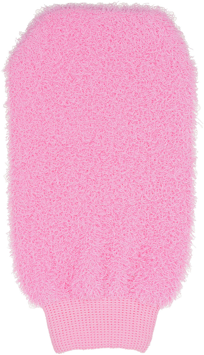 """Мочалка-рукавица """"Riffi"""", жесткая, цвет: розовый"""