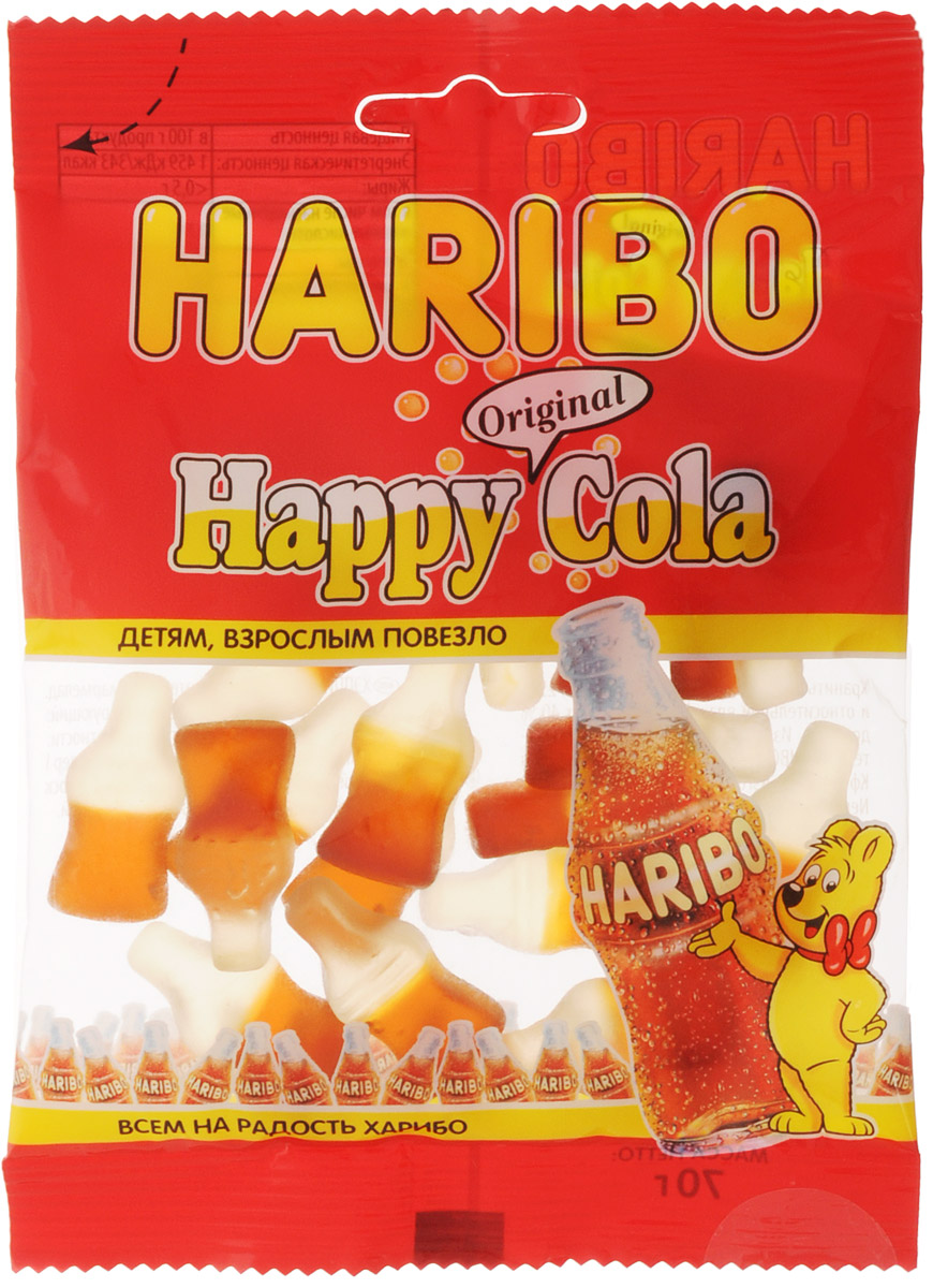 Haribo Happy Cola жевательный мармелад, 70 г0120710Happy Cola Haribo - оригинальный формат в категории жевательного мармелада с насыщенным вкусом любимого всеми напитка!Его любят и взрослые, и дети!Haribo Happy Cola со вкусом колы - это настоящая классика в продуктовой линейке Haribo, ваш заряд энергии на целый день!Уважаемые клиенты! Обращаем ваше внимание, что полный перечень состава продукта представлен на дополнительном изображении.