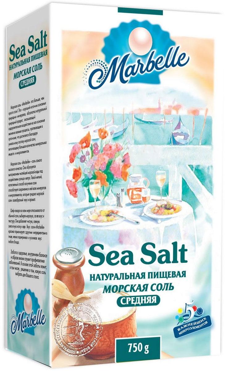 Marbelle соль морская пищевая средняя, 750 г3782Морская соль образуется под выпариванием чистейшей морской воды под воздействием солнца и ветра. Такой естественный способ получения соли способствует сохранению в ней всех минералов и микроэлементов. Морская соль улучшает обменные процессы, оказывает тонизирующее воздействие, приятнее и мягче на вкус, чем обычная поваренная соль. Создана для приготовления домашней пищи, для консервации, засолки рыбы, гармонирует с другими ингредиентами в пище, нежно подчеркивая и усиливая вкус любого блюда.