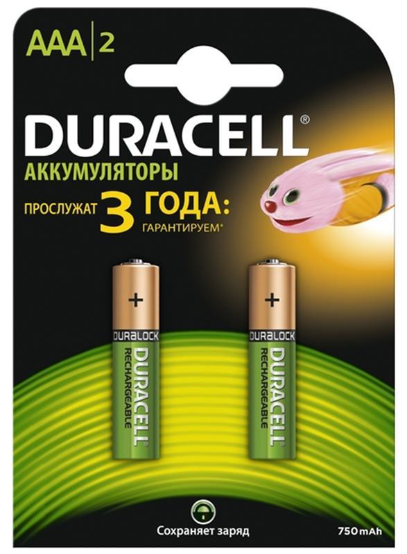 Набор аккумуляторов Duracell, AAA NiMH 750 mAh, 2 шт15119125Никель-металлгидридные аккумуляторы Duracell - идеальное решение для цифровых приборов с высоким потреблением энергии. Их основное преимущество перед другими типами аккумуляторов заключается в более продолжительном времени работы в течение одного цикла зарядки. Используя такой аккумулятор, можно не беспокоиться, что фотоаппарат разрядится или МРЗ-плеер выключится в самый неподходящий момент.Из-за эффекта памяти никель-металлогидридные элементы могут терять значительную часть своей ёмкости. Он проявляется меньше, чем в никель-кадмиевых, но все равно присутствует. Эффект памяти проявляется при многократных циклах неполного разряда и последующего заряда. В результате такой эксплуатации аккумулятор запоминает всё меньшую нижнюю границу разряда, из-за чего уменьшается ёмкость. Часть активной массы аккумуляторной батареи выпадает из процесса.Для устранения этого эффекта рекомендуется регулярно проводить восстановление или тренировку аккумуляторов. Характеристики:Типоразмер: AАA. Тип: никель-металлгидридный. Емкость: 750 mAh. Комплектация: 2 шт.