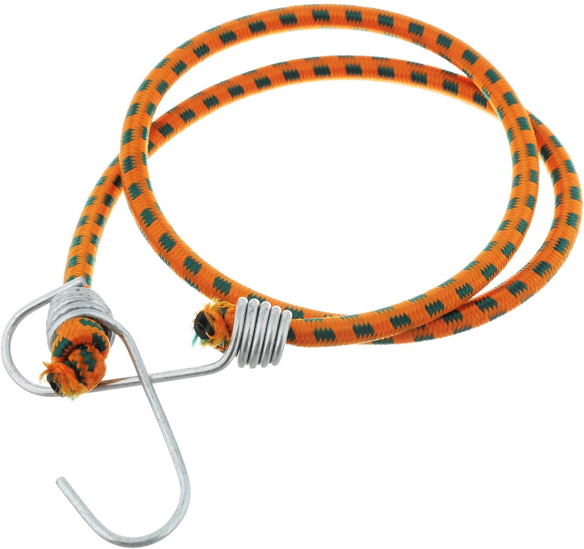 Резинка багажная МастерПроф, с крючками, цвет: оранжевый, изумрудный, 0,6 х 80 см. АС.020021Ветерок 2ГФБагажная резинка МастерПроф, выполненная из синтетического каучука, оснащена специальными металлическими крючками, которые обеспечивают прочное крепление и не допускают смещения груза во время его перевозки. Изделие применяется для закрепления предметов к багажнику. Такая резинка позволит зафиксировать как небольшой груз, так и довольно габаритный.Материал: синтетический каучук.Температура использования: -15°C до +50°C.Безопасное удлинение: 60%.Диаметр резинки: 0,6 см.Длина резинки: 80 см.