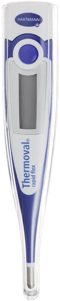 Paul Hartmann Термометр Thermoval Rapid FlexУТ000000322Медицинский электронный термометр Paul Hartmann Thermoval Rapid Flex с гибким наконечником - это быстрый и легкий способ измерить температуру тела. Термометр предназначен для измерения температуры во рту, в подмышечной впадине и ректально. При производстве термометра использовались только безопасные материалы. Удобство измерения обеспечивается цифровым хорошо читаемым дисплеем с крупными цифрами и сверхбыстрой скоростью измерения (от 10 секунд, в зависимости от способа измерения). Уникальная высокоскоростная технология позволяет измерять температуру тела быстро, обеспечивая высочайшую точность измерений и надежность. По окончании измерения термометр отключится автоматически. Память последнего измерения дает возможность сравнивать полученные результаты.В комплект входит защитный футляр для термометра. Рекомендуется докупить 1 батарейку типа LR41 (товар комплектуется демонстрационной).
