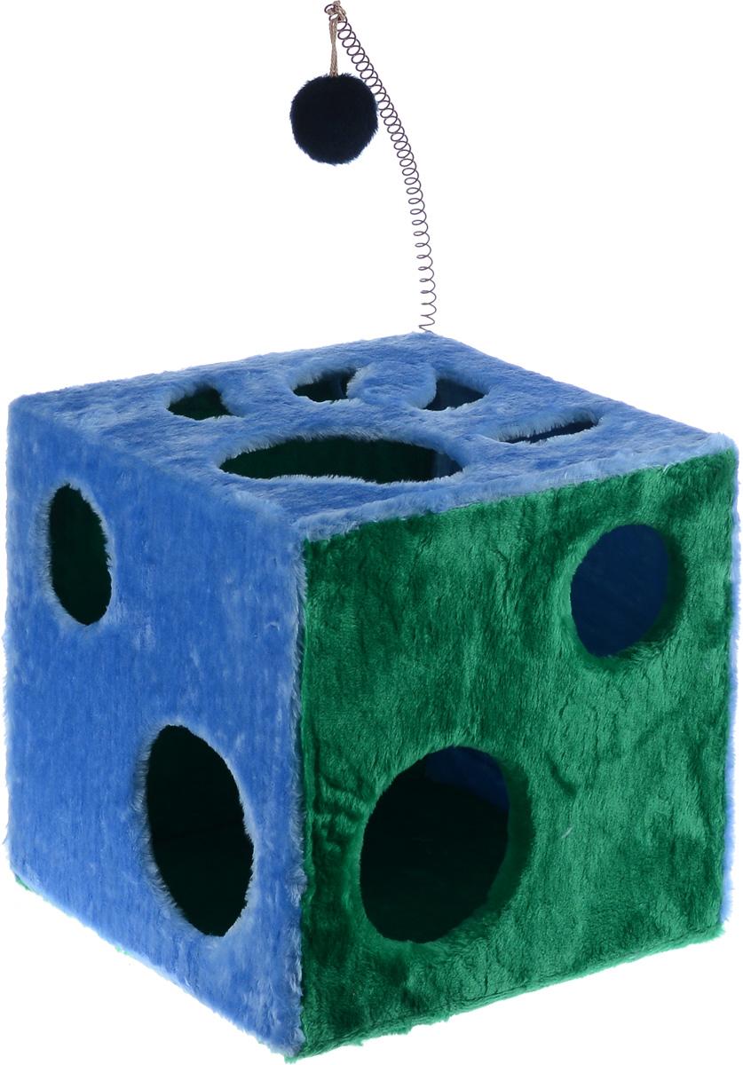 Домик для кошек ЗооМарк Кубик с лапкой, с игрушкой, цвет: голубой, зеленый, 42 х 42 х 42 см0120710Домик ЗооМарк Кубик с лапкой непременно станет любимым местом отдыха вашего домашнего животного. Он изготовлен из высококачественного дерева и обтянут искусственным мехом. Домик оформлен крупными отверстиями в виде лапы животного и кружков. Оригинальный домик для животных - отличное место, чтобы спрятаться. Также там можно хранить свои охотничьи трофеи. Сверху расположена игрушка на пружине.