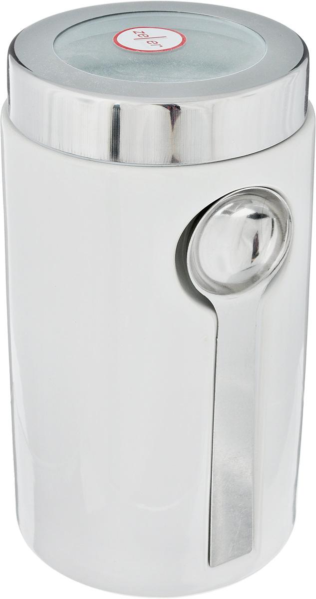 Банка для сыпучих продуктов Zeller, с ложкой, цвет: серый, белый, 900 млVT-1520(SR)Банка Zeller изготовлена из высококачественной керамики. Емкость снабжена крышкой из пластика и металла, которая плотно закрывается, дольше сохраняя аромат и свежесть содержимого. Изделие оснащено металлической ложкой, которая крепится к банке с помощью магнитов. Банка подходит для хранения сыпучих продуктов: круп, специй, сахара, соли. Она станет полезным приобретением и пригодится на любой кухне.Диаметр по верхнему краю: 9 см.Высота (с учетом крышки): 19 см. Длина ложки: 14 см.