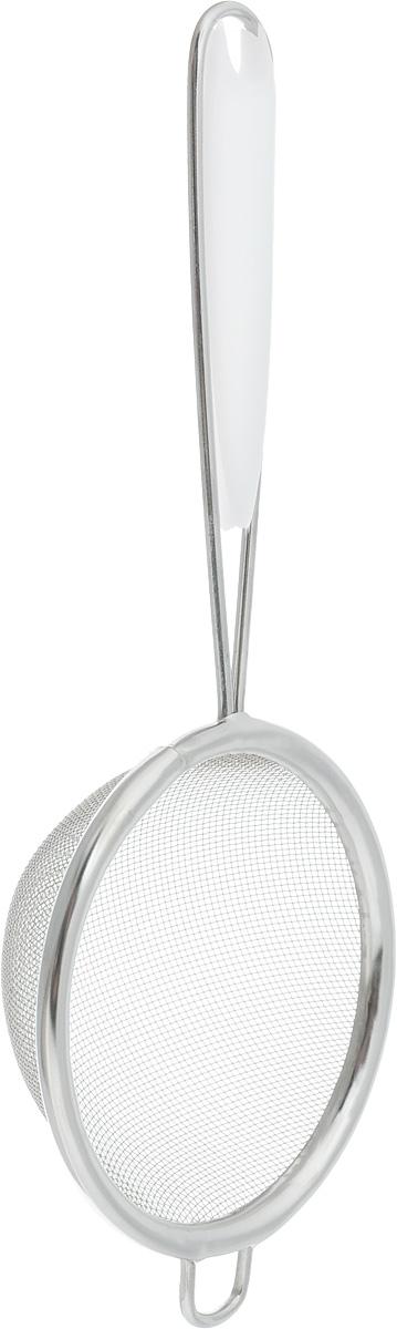 Ситечко Axentia, цвет: белый, стальной, 7 см115510Ситечко Axentia, выполненное из нержавеющей стали, станет незаменимым аксессуаром на вашей кухне. Оно предназначено для просеивания и процеживания. Удобная ручка с пластиковой вставкой не позволит выскользнуть изделию из вашей руки. Ручка имеет отверстие, с помощью которого изделие можно подвесить в удобном для вас месте.Такое ситечко станет достойным дополнением к кухонному инвентарю.Диаметр ситечка по верхнему краю: 7 см.Глубина ситечка: 2,8 см.Длина ручки: 10 см.