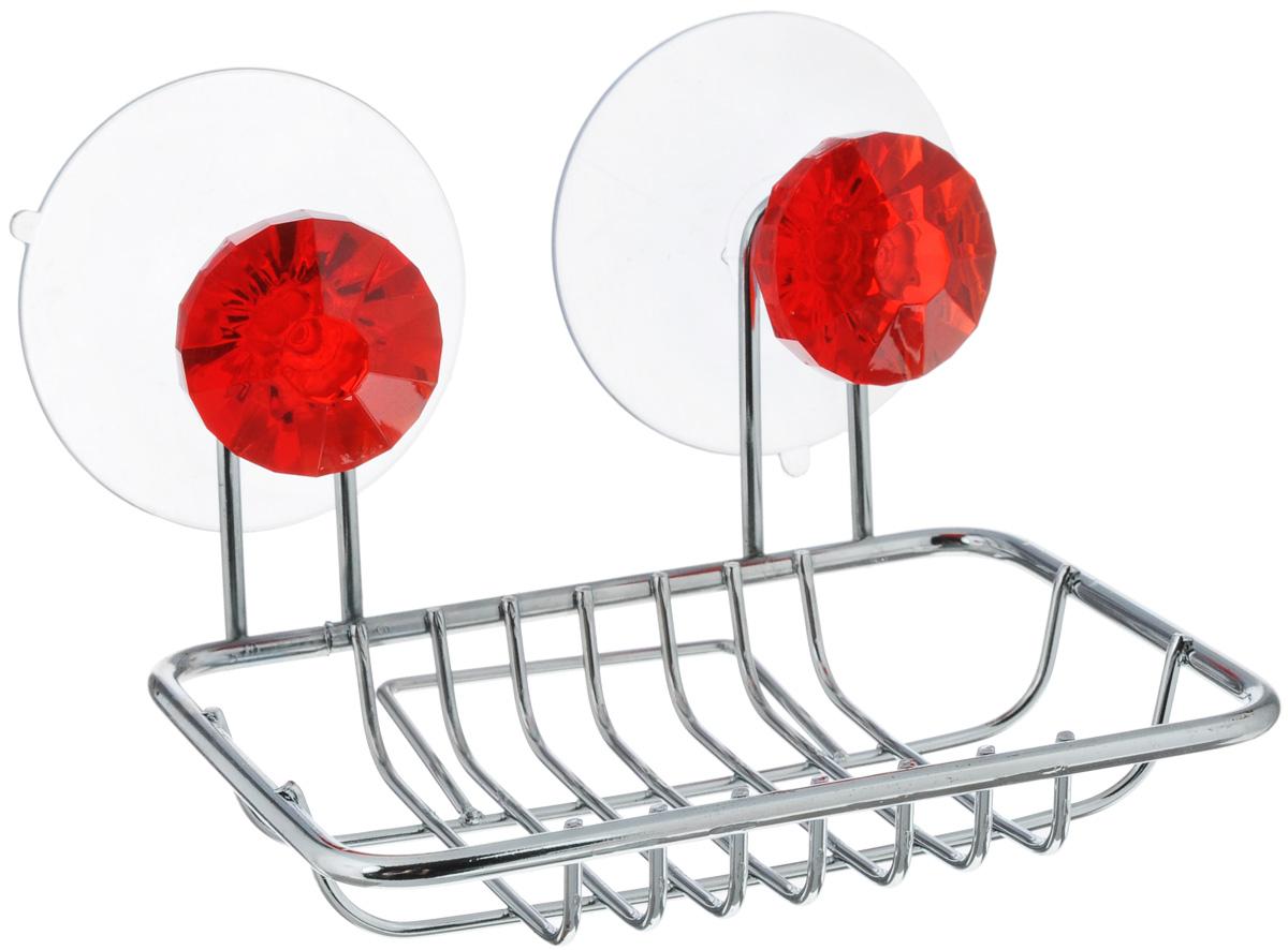 Мыльница Top Star Kristall, подвесная, на присосках, цвет: красный, стальной531-105Мыльница Top Star Kristall изготовлена из хромированной стали. Изделиекрепится кстене при помощи двух присосок. Такая мыльница прекрасно подойдет для ваннойкомнаты или кухни.