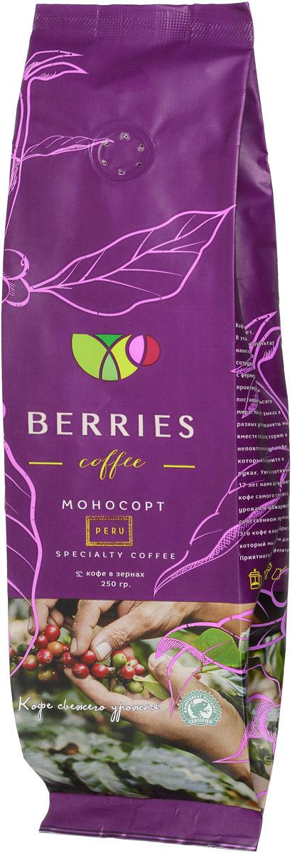 Berries Coffee Peru моносорт кофе в зернах, 250 г0120710У этого кофе цветочный аромат, во вкусе можно уловить оттенки специй. Он сладкий, с плотной шелковистой консистенцией и послевкусием горького шоколада.