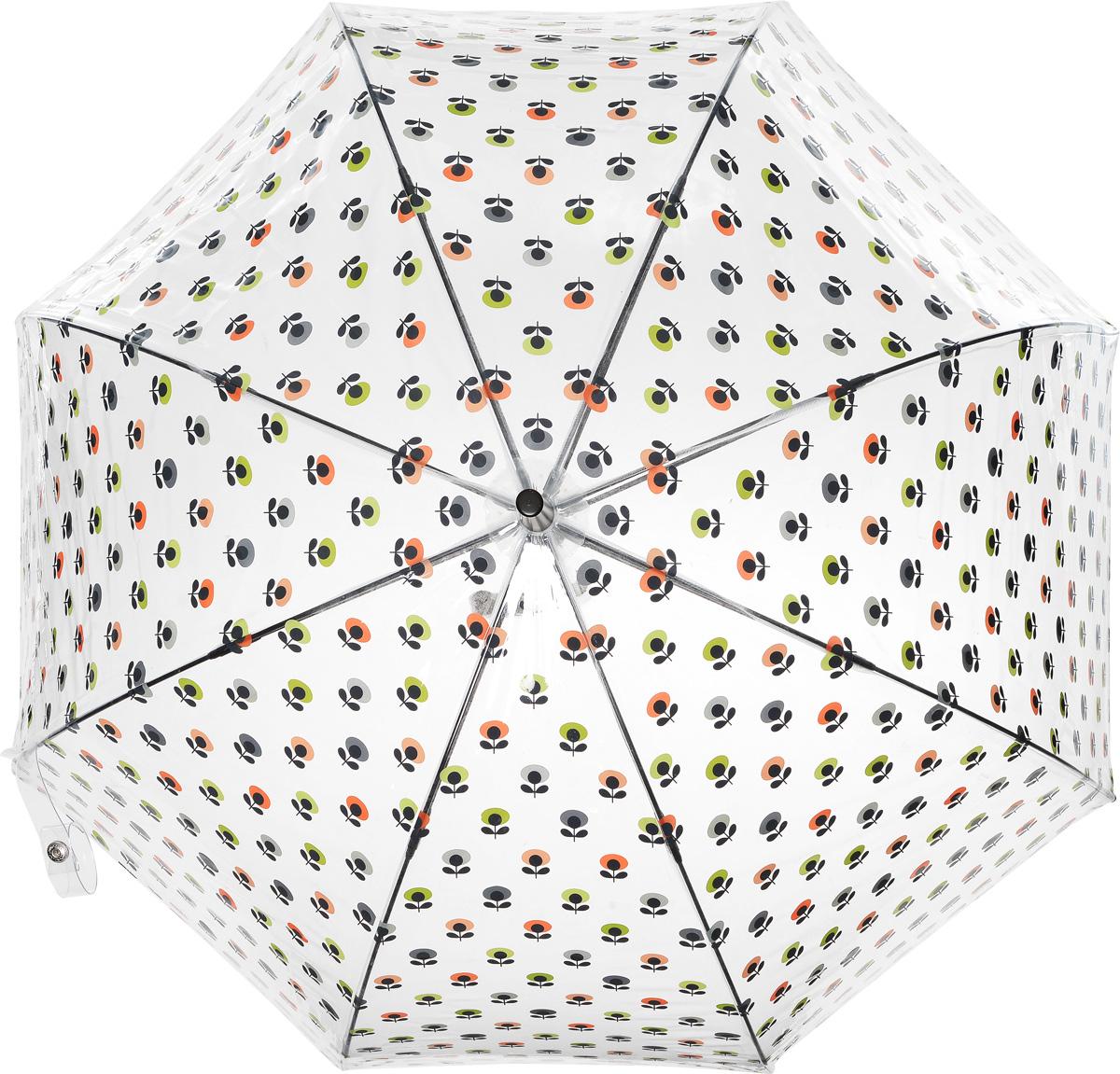 Зонт-трость женский Orla Kiely Birdcage, механический, цвет: прозрачный, мультиколор. L746-3201CX1516-50-10Необычный механический зонт-трость Orla Kiely Birdcage даже в ненастную погоду позволит вам оставаться модной и элегантной. Каркас зонта включает 8 спиц из фибергласса с пластиковыми наконечниками. Стержень изготовлен из стали. Купол зонта выполнен из высококачественного прозрачного ПВХ и оформлен принтом в виде цветочков. Изделие дополнено удобной пластиковой рукояткой, стилизованной под дерево.Зонт механического сложения: купол открывается и закрывается вручную до характерного щелчка. Модель дополнительно застегивается с помощью хлястика на кнопку.Такой зонт не только надежно защитит вас от дождя, но и станет стильным аксессуаром, который идеально подчеркнет ваш неповторимый образ.
