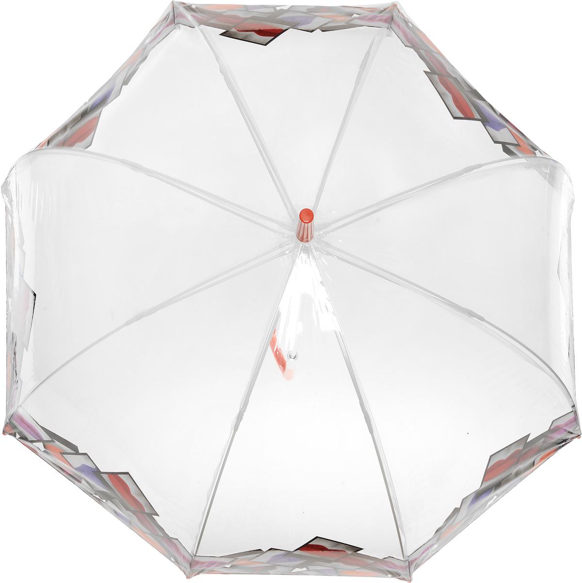 Зонт-трость женский Lulu Guinness Birdcage, механический, цвет: прозрачный. L719-3079П250071001-22Необычный механический зонт-трость Lulu Guinness Birdcage даже в ненастную погоду позволит вам оставаться модной и элегантной. Каркас зонта включает 8 спиц из фибергласса с пластиковыми наконечниками. Стержень изготовлен из стали. Купол зонта выполнен из высококачественного прозрачного ПВХ и оформлен по краю оригинальным принтом. Изделие дополнено удобной пластиковой рукояткой с металлическим элементом.Зонт механического сложения: купол открывается и закрывается вручную до характерного щелчка. Модель дополнительно застегивается с помощью хлястика на кнопку.Такой зонт не только надежно защитит вас от дождя, но и станет стильным аксессуаром, который идеально подчеркнет ваш неповторимый образ.