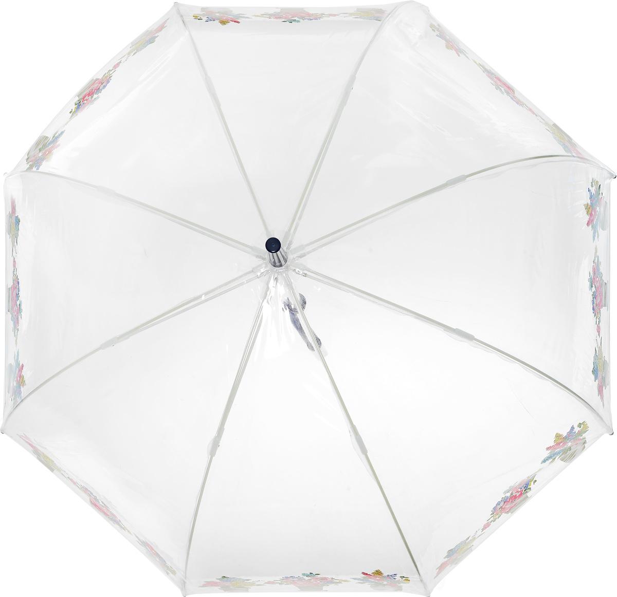 Зонт-трость женский Cath Kidston Birdcage, механический, цвет: прозрачный. L546-3145REM12-CAM-REDBLACKНеобычный механический зонт-трость Cath Kidston Birdcage даже в ненастную погоду позволит вам оставаться модной и элегантной. Каркас зонта включает 8 спиц из фибергласса с пластиковыми наконечниками. Стержень изготовлен из стали. Купол зонта выполнен из высококачественного прозрачного ПВХ и по краю оформлен принтом в виде цветочных горшков. Изделие дополнено удобной пластиковой рукояткой.Зонт механического сложения: купол открывается и закрывается вручную до характерного щелчка. Модель дополнительно застегивается с помощью хлястика на кнопку.Такой зонт не только надежно защитит вас от дождя, но и станет стильным аксессуаром, который идеально подчеркнет ваш неповторимый образ.