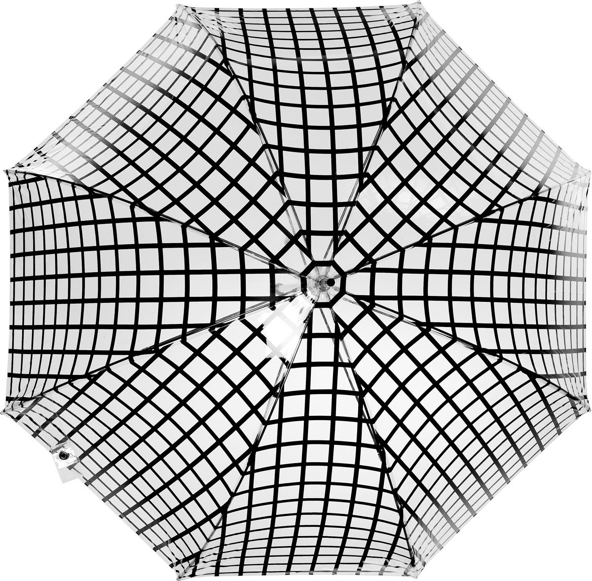 Зонт-трость женский Vogue, цвет: прозрачный, черный. 107V/1-645100032/35449/3537AСтильный зонт-трость испанского производителя Vogue оснащен каркасом с противоветровым эффектом.Каркас зонта включает 8 спиц. Стержень изготовлен из стали, купол выполнен из прочного полиэстера.Зонт оснащен автоматическим механизмом: купол открывается нажатием на кнопку около ручки и закрывается с помощью нее же.Такой зонт не только надежно защитит вас от дождя, но и станет стильным аксессуаром, который идеально подчеркнет ваш неповторимый образ. Рекомендации по использованию: Мокрый зонт нельзя оставлять сложенным. Зонт после использования рекомендуется сушить в полураскрытом виде вдали от нагревательных приборов. Чистить зонт рекомендуется губкой, используя мягкие нещелочные растворы.