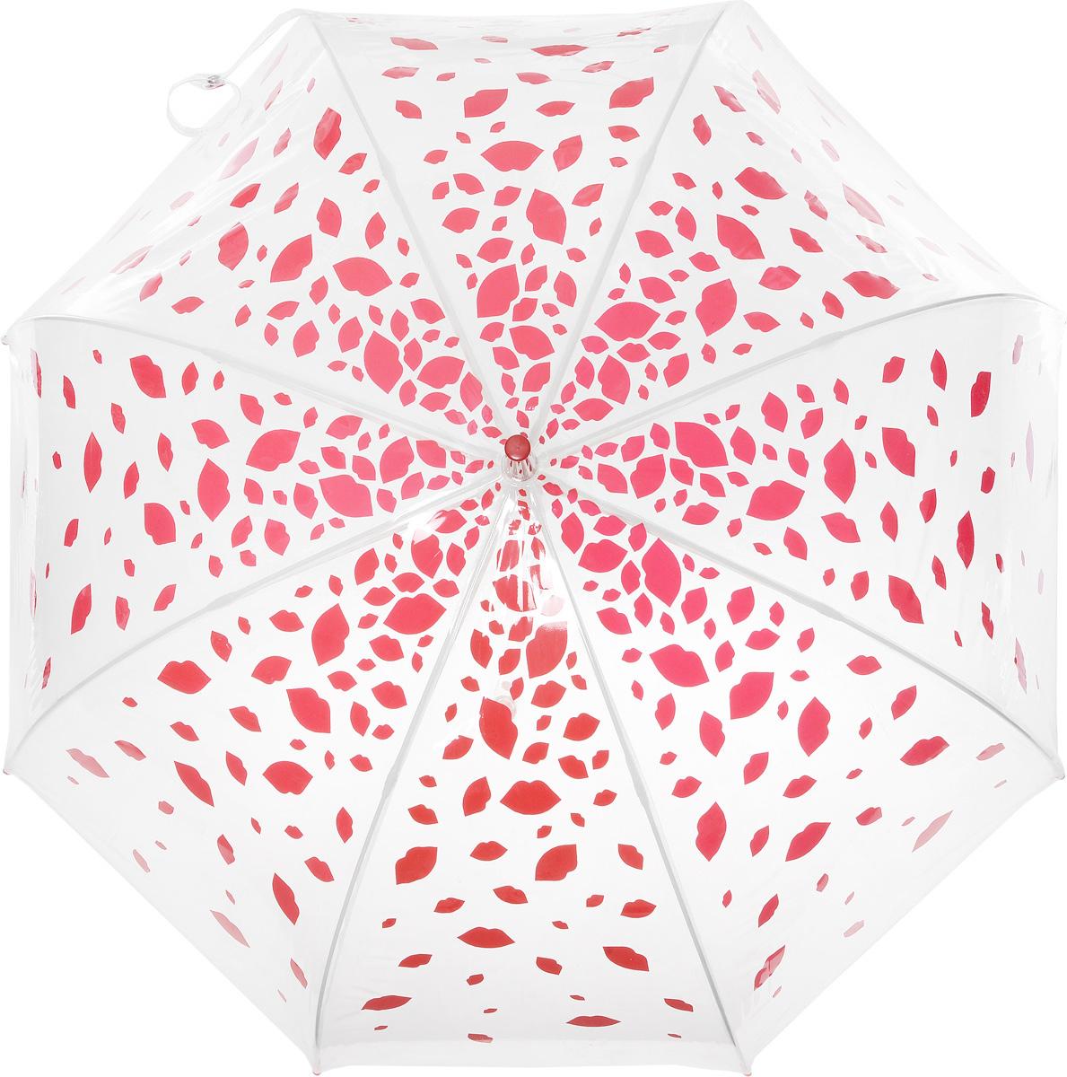 Зонт-трость женский Lulu Guinness Birdcage, механический, цвет: прозрачный, красный. L719-3177REM12-BLACKНеобычный механический зонт-трость Lulu Guinness Birdcage даже в ненастную погоду позволит вам оставаться модной и элегантной. Каркас зонта включает 8 спиц из фибергласса с пластиковыми наконечниками. Стержень изготовлен из стали. Купол зонта выполнен из высококачественного прозрачного ПВХ и оформлен принтом в виде губок. Изделие дополнено удобной прозрачной рукояткой из пластика с металлическим элементом в верхней части. Пластиковая часть наполнена жидкостью с яркими декоративными элементами в виде губок. Зонт механического сложения: купол открывается и закрывается вручную до характерного щелчка. Модель дополнительно застегивается с помощью хлястика на кнопку.Такой зонт не только надежно защитит вас от дождя, но и станет стильным аксессуаром, который идеально подчеркнет ваш неповторимый образ.