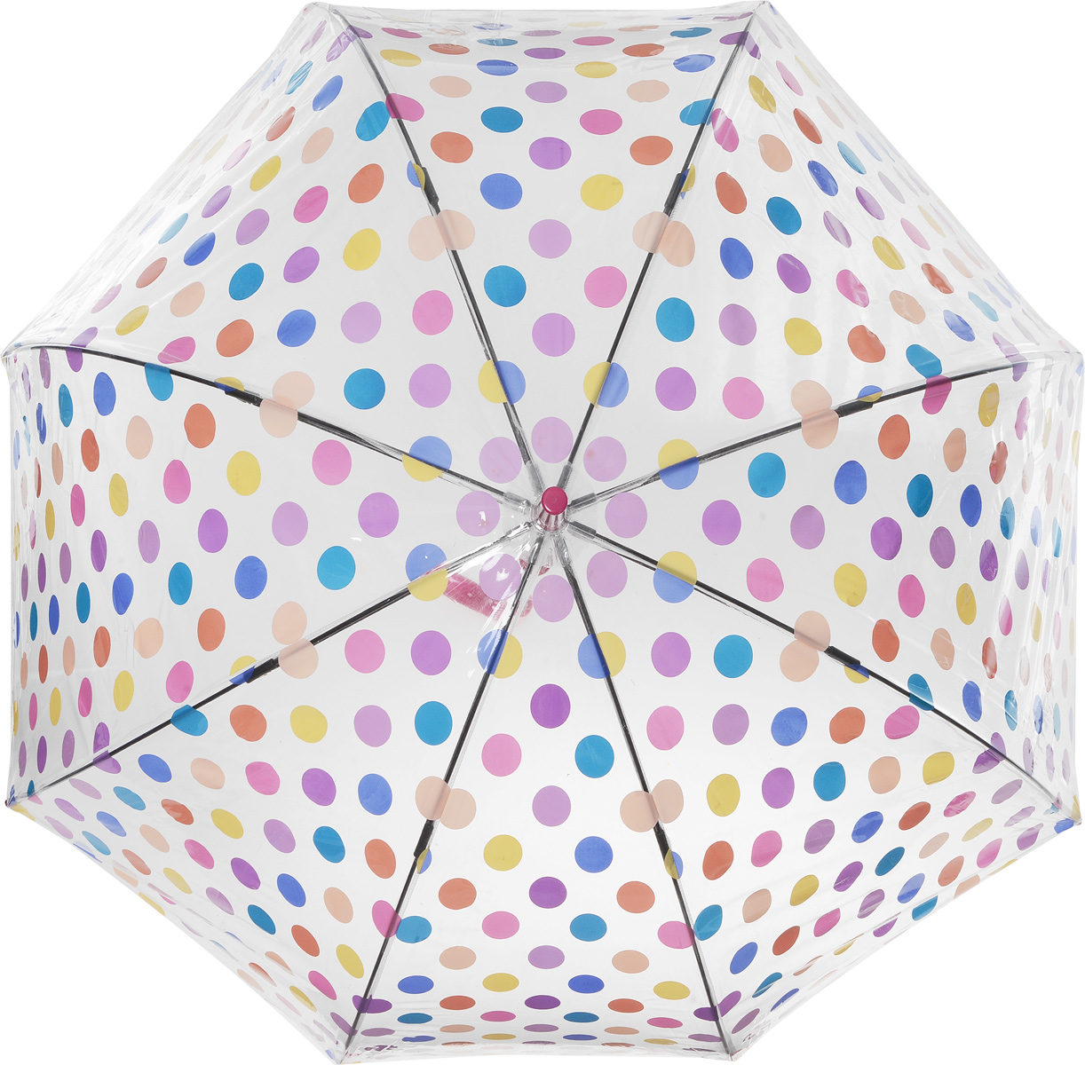 Зонт-трость женский Small Spots, механический, цвет: сиреневый8B035000M/18075/3900NСтильный куполообразный зонт-трость Small Spots, закрывающий голову и плечи, даже в ненастную погоду позволит вам оставаться элегантной. Каркас зонта выполнен из 8 спиц из фибергласса, стержень изготовлен из стали. Купол зонта выполнен из прозрачного ПВХ и оформлен принтом в горошек. Рукоятка закругленной формы разработана с учетом требований эргономики и изготовлена из пластика. Зонт имеет механический тип сложения: купол открывается и закрывается вручную до характерного щелчка.Такой зонт не только надежно защитит вас от дождя, но и станет стильным аксессуаром. Характеристики:Материал: ПВХ, сталь, фибергласс, пластик. Диаметр купола: 89 см.Цвет: сиреневый. Длина стержня зонта: 84 см. Длина зонта (в сложенном виде): 94 см.Вес: 540 г. Артикул:L042 3F2645.