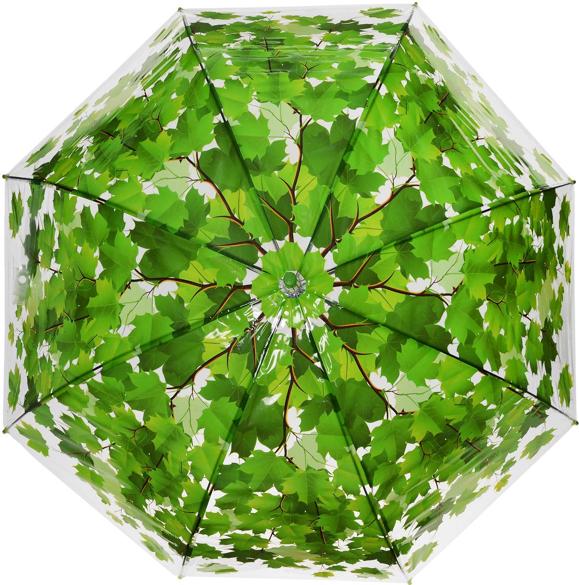 Зонт женский Эврика Листья, цвет: зеленый. 96566REM12-CAM-GREENBLACKЗонт-трость Эврика выполнен из прозрачного полиэтилена и оформлен принтом в виде кленовых листьев.Благодаря своему изяществу и утонченности орнамента он способен украсить даже самый пасмурный день. Лёгкий, практичный зонт-полуавтомат послужит верным спутником дамы, желающей выглядеть стильно в любую погоду.