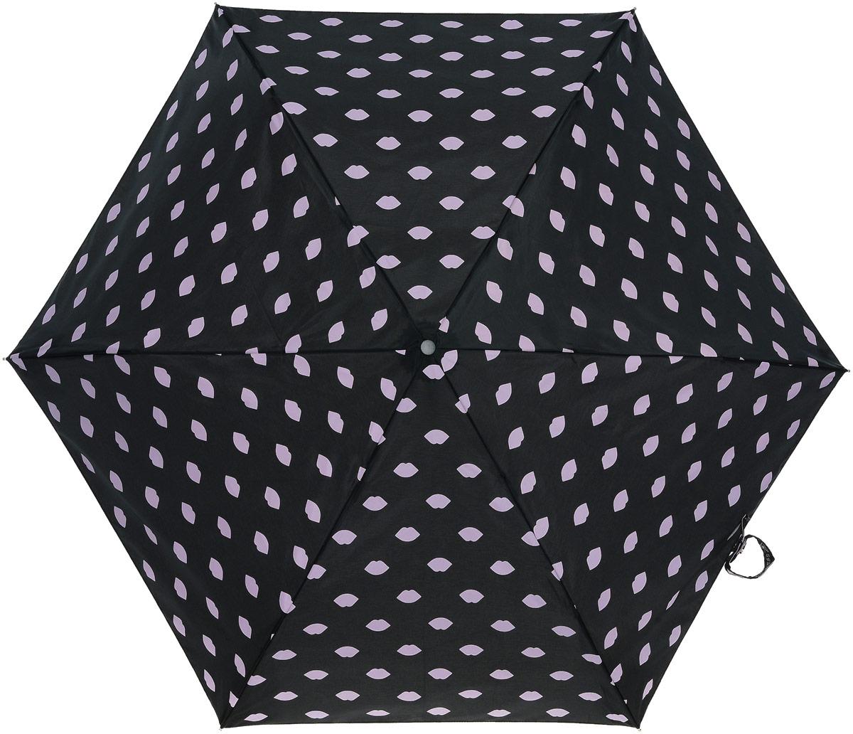 Зонт женский Lulu Guinness Superslim, механический, 3 сложения, цвет: черный, бледно-розовый. L718-2875Серьги с подвескамиСтильный механический зонт Lulu Guinness Superslim в 3 сложения даже в ненастную погоду позволит вам оставаться элегантной. Облегченный каркас зонта выполнен из 6 спиц из фибергласса и алюминия, стержень также изготовлен из алюминия, удобная рукоятка - из пластика. Купол зонта выполнен из прочного полиэстера. В закрытом виде застегивается хлястиком на кнопке. Яркий оригинальный принт в виде изображения губ поднимет настроение в дождливый день.Зонт механического сложения: купол открывается и закрывается вручную до характерного щелчка.На рукоятке для удобства есть небольшой шнурок, позволяющий надеть зонт на руку тогда, когда это будет необходимо. К зонту прилагается чехол, который дополнительно застегивается на липучку, с небольшой нашивкой с названием бренда. Такой зонт компактно располагается в кармане, сумочке, дверке автомобиля.