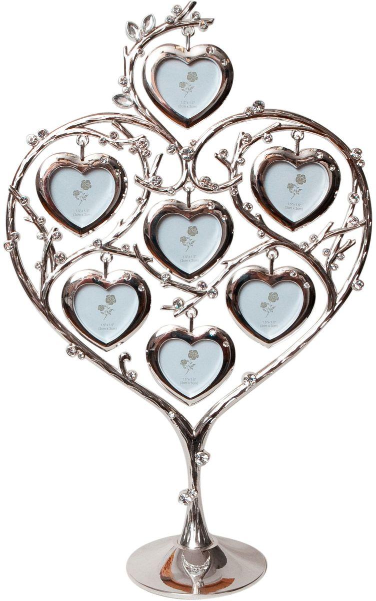 Фоторамка Platinum Дерево. Сердца, цвет: светло-серый, на 7 фото, 4 x 4 см. PF1030574-0120Декоративная фоторамка Platinum Дерево. Сердца выполнена из металла. На подставку в виде деревца подвешиваются семь фоторамок в форме сердец. Фоторамка украшена стазами. Изысканная и эффектная, эта потрясающая рамочка покорит своей красотой и изумительным качеством исполнения. Фоторамка Platinum Дерево. Сердца не только украсит интерьер помещения, но и поможет разместить фото всей вашей семьи. Высота фоторамки: 31,5 см. Фоторамка подходит для фотографий 4 х 4 см.Общий размер фоторамки: 20 х 4,5 х 31,5 см.