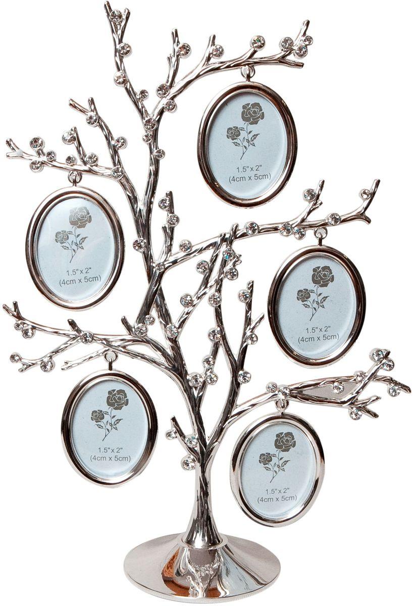 Фоторамка Platinum Дерево, цвет: светло-серый, на 5 фото, 4 x 5 см. PF10324AБрелок для сумкиДекоративная фоторамка Platinum Дерево выполнена из металла. На подставке в виде дерева располагается пять овальных фоторамок. Фоторамка украшена стазами. Изысканная и эффектная, эта потрясающая рамочка покорит своей красотой и изумительным качеством исполнения. Фоторамка Platinum Дерево не только украсит интерьер помещения, но и поможет разместить фото всей вашей семьи. Высота фоторамки: 27 см. Фоторамка подходит для фотографий 4 x 5 см.Общий размер фоторамки: 18,5 х 5 х 27 см.