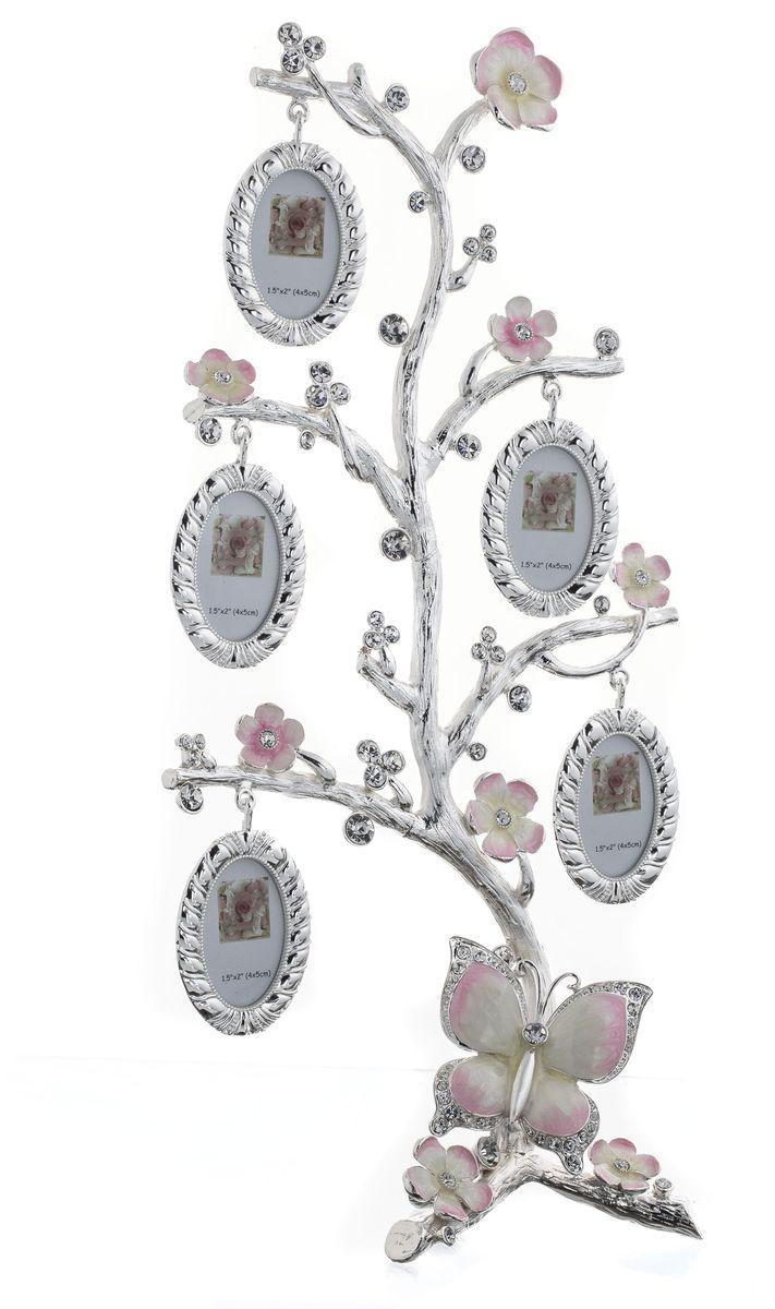Фоторамка Platinum Дерево. Цветы и бабочки, цвет: светло-серый, розовый, на 5 фото, 4 x 5 см. PF11194PLATINUM BH-2308-White-БелыйДекоративная фоторамка Platinum Дерево. Цветы и бабочки выполнена из металла в виде дерева. На ветках с цветами и бабочкой подвешиваются пять овальных рамочек. Фоторамка украшена стразами. Изысканная и эффектная, эта потрясающая рамочка покорит своей красотой и изумительным качеством исполнения. Фоторамка Platinum Дерево. Цветы и бабочки не только украсит интерьер помещения, но и поможет разместить фото всей вашей семьи. Высота фоторамки: 35 см. Фоторамка подходит для фотографий 4 х 5 см.Общий размер фоторамки: 17 х 5 х 35 см.
