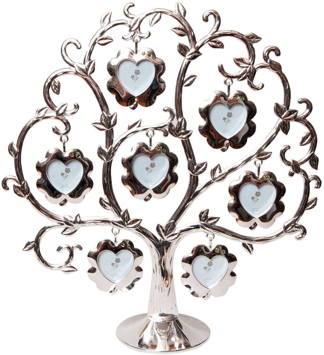 Фоторамка Platinum Дерево, цвет: светло-серый, на 7 фото, 4 x 4 см. PF9460BSБрелок для ключейДекоративная фоторамка Platinum Дерево выполнена из металла. На подставку в виде деревца подвешиваются семь рамочек в форме цветочков, украшенных стразами. Изысканная и эффектная, эта потрясающая рамочка покорит своей красотой и изумительным качеством исполнения. Фоторамка Platinum Дерево не только украсит интерьер помещения, но и поможет разместить фото всей вашей семьи. Высота фоторамки: 25 см. Фоторамка подходит для фотографий 4 х 4 см.Общий размер фоторамки: 24 х 5 х 25 см.