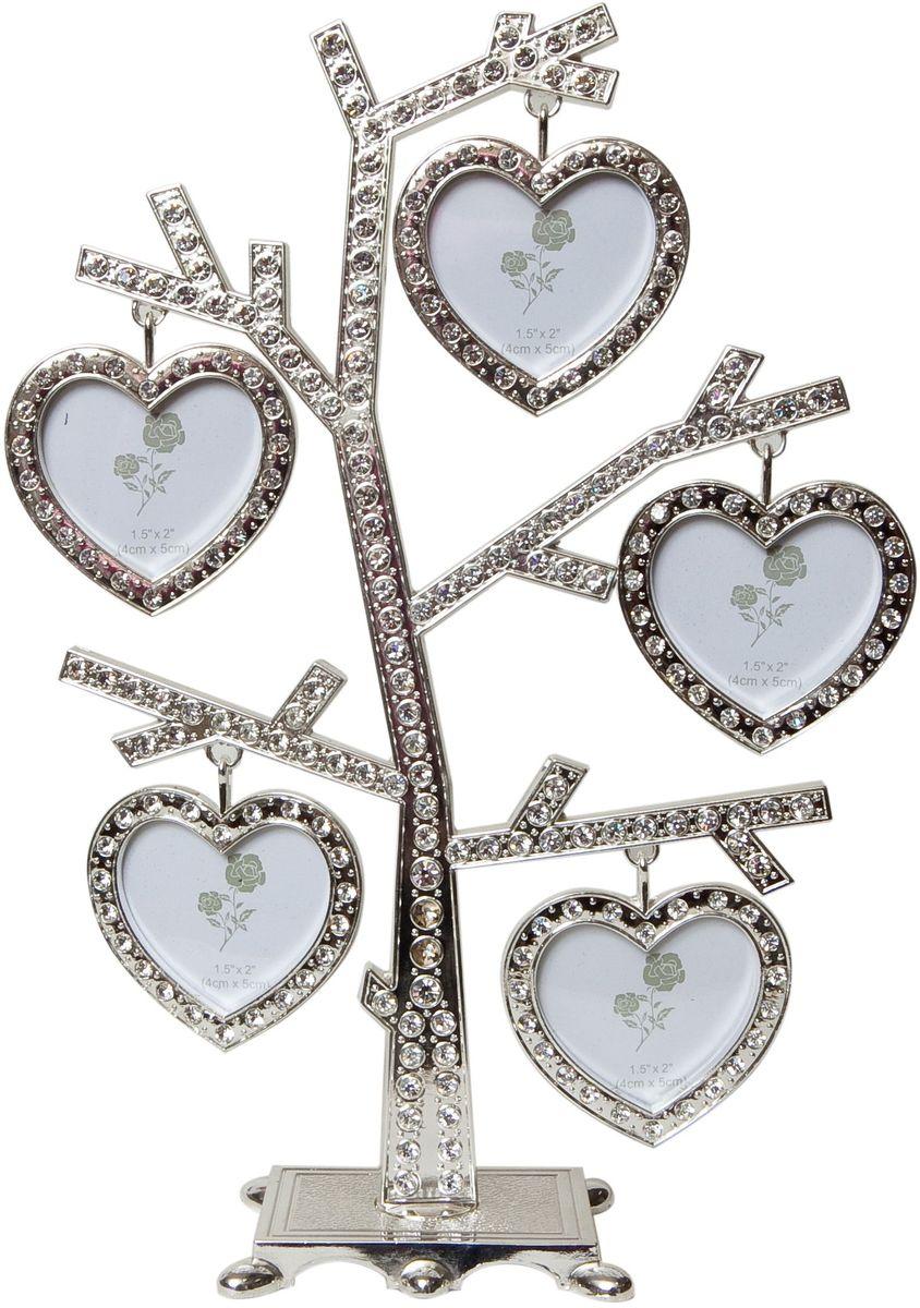 Фоторамка Platinum Дерево, цвет: светло-серый, на 5 фото, 5 x 6 см. PF9631PLATINUM BIN-112244 Белый с золотом (White with gold)Декоративная фоторамка Platinum Дерево выполнена из металла и декорирована стразами. На подставку в виде деревца подвешиваются пять фоторамок в форме сердца. Изысканная и эффектная, эта потрясающая рамочка покорит своей красотой и изумительным качеством исполнения. Декоративная фоторамкаPlatinum Дерево не только украсит интерьер помещения, но и поможет разместить фото всей вашей семьи. Высота фоторамки: 24 см. Фоторамка подходит для фотографий 5 x 6 см.Общий размер фоторамки: 18 х 4 х 24 см.