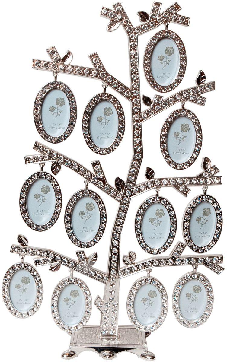 Фоторамка Platinum Дерево, цвет: светло-серый, на 12 фото, 4 x 5 см. PF963812 фоторамок на дереве PF9476CДекоративная фоторамка Platinum Дерево выполнена из металла и декорирована стразами. На подставку в виде деревца подвешиваются двенадцать овальных рамочек. Изысканная и эффектная, эта потрясающая рамочка покорит своей красотой и изумительным качеством исполнения. Декоративная фоторамкаPlatinum Дерево не только украсит интерьер помещения, но и поможет разместить фото всей вашей семьи. Высота фоторамки: 29 см. Фоторамка подходит для фотографий 4 x 5 см.Общий размер фоторамки: 19,5 х 5 х 29 см.