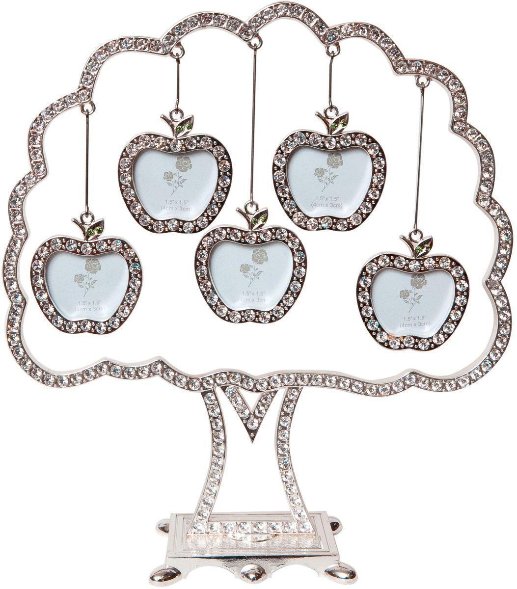 Фоторамка Platinum Дерево, цвет: светло-серый, на 5 фото, 5 x 6 см. PF9707BPlatinum JW92-5 БЕРГАМО-БОРДОВЫЙ 15x21Декоративная фоторамка Platinum Дерево выполнена из металла и декорирована стразами. На подставку в виде деревца подвешиваются пять фоторамок в форме яблок. Изысканная и эффектная, эта потрясающая рамочка покорит своей красотой и изумительным качеством исполнения. Декоративная фоторамкаPlatinum Дерево не только украсит интерьер помещения, но и поможет разместить фото всей вашей семьи. Высота фоторамки: 19,5 см. Фоторамка подходит для фотографий 5 x 6 см.Общий размер фоторамки: 18,5 х 4,5 х 19,5 см.
