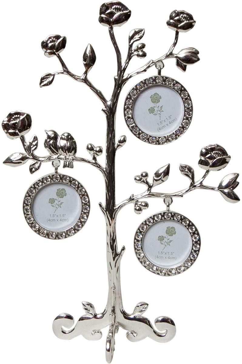 Фоторамка Platinum Дерево. Розы, цвет: светло-серый, на 3 фото, 4 x 4 см. PF9748BBIN-1123026-White-БелыйДекоративная фоторамкаPlatinum Дерево. Розы выполнена из металла. На ветках с розами подвешиваются три круглые рамочки, украшенные стразами. Изысканная и эффектная, эта потрясающая рамочка покорит своей красотой и изумительным качеством исполнения. Декоративная фоторамкаPlatinum Дерево. Розы не только украсит интерьер помещения, но и поможет разместить фото всей вашей семьи. Высота фоторамки: 23 см. Фоторамка подходит для фотографий 4 x 4 см.Общий размер фоторамки: 17 х 6 х 23 см.