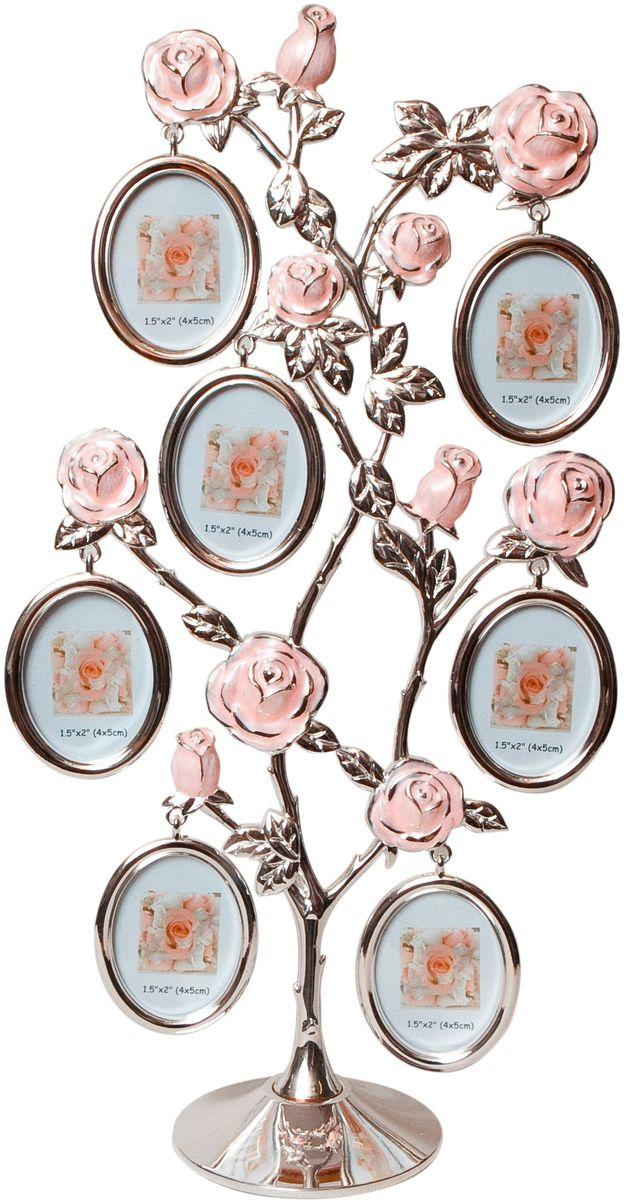 Фоторамка Platinum Дерево. Розы, цвет: светло-серый, на 7 фото 4 x 5 см. PF9930AБрелок для сумкиДекоративная фоторамка Platinum Дерево. Розы выполнена из металла. На подставку в виде деревца розы подвешиваются восемь овальных рамочек. Изысканная и эффектная, эта потрясающая рамочка покорит своей красотой и изумительным качеством исполнения. Фоторамка Platinum Дерево. Розы не только украсит интерьер помещения, но и поможет разместить фото всей вашей семьи. Высота фоторамки: 33,5 см. Фоторамка подходит для фотографий 4 х 5 см.Общий размер фоторамки: 17 х 5 х 33,5 см.