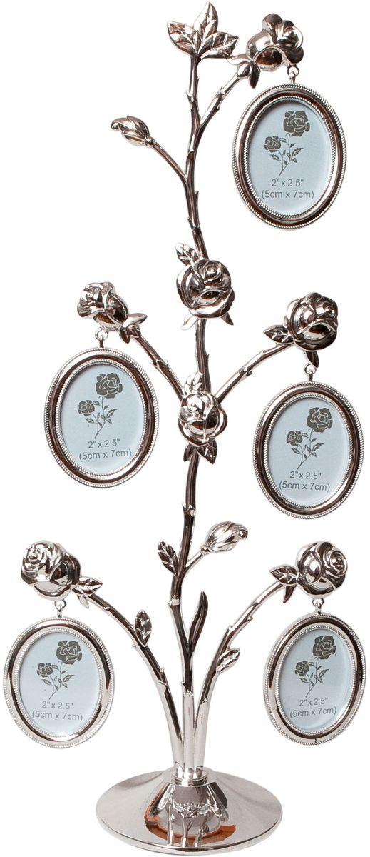 Фоторамка Platinum Дерево. Розы, цвет: светло-серый, на 5 фото, 5 x 6 см. PF9931BPLATINUM PF10820ВДекоративная фоторамкаPlatinum Дерево. Розы выполнена из металла. На ветках с розами подвешиваются пять овальных рамочек. Изысканная и эффектная, эта потрясающая рамочка покорит своей красотой и изумительным качеством исполнения. Декоративная фоторамкаPlatinum Дерево. Розы не только украсит интерьер помещения, но и поможет разместить фото всей вашей семьи. Высота фоторамки: 40 см. Фоторамка подходит для фотографий 5 x 6 см.Общий размер фоторамки: 18 х 4 х 40 см.