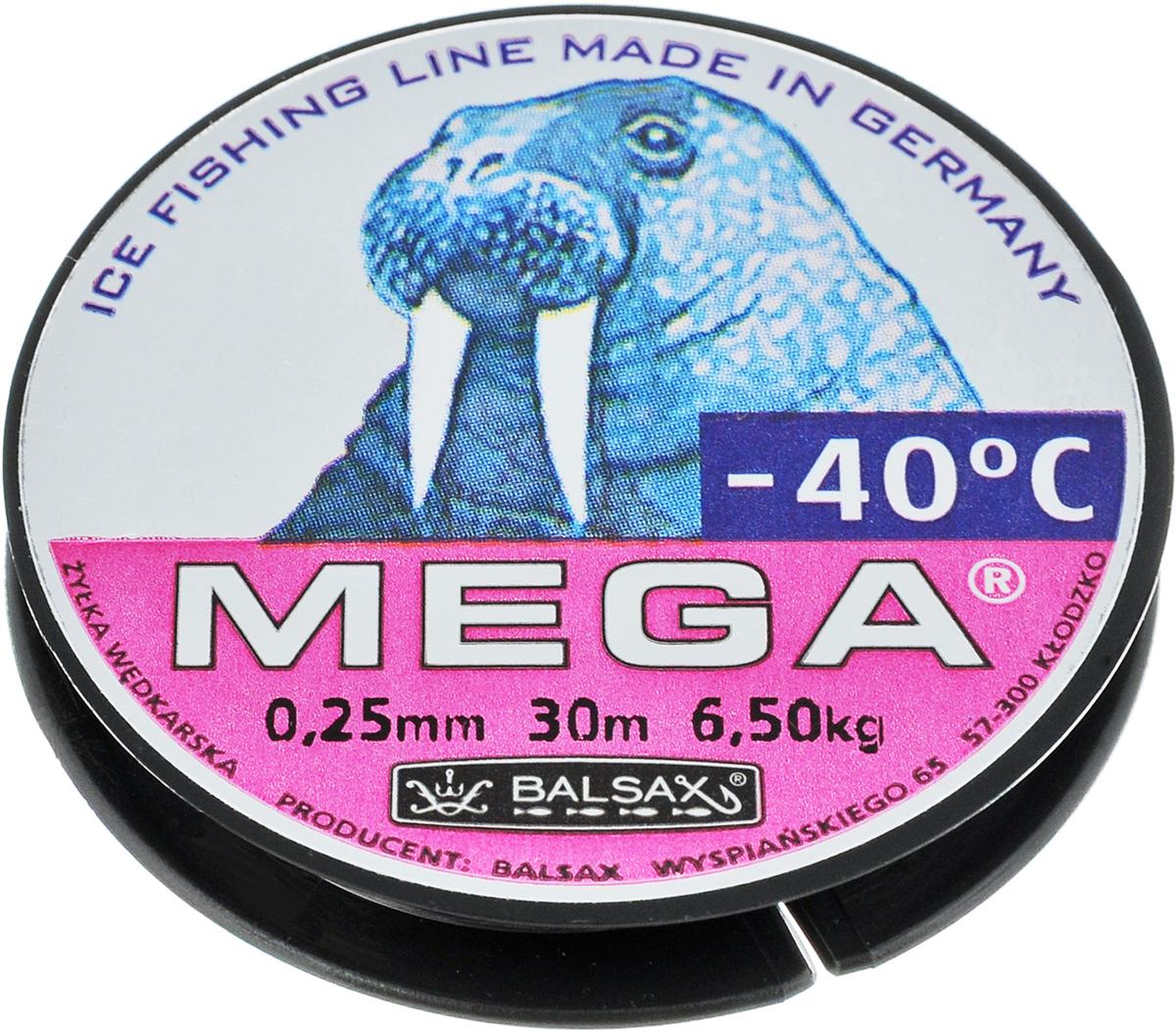 Леска зимняя Balsax Mega, 30 м, 0,25 мм, 6,5 кг010-01199-23Леска Balsax Mega изготовлена из 100% нейлона и очень хорошо выдерживает низкие температуры. Даже в самом холодном климате, при температуре вплоть до -40°C, она сохраняет свои свойства практически без изменений, в то время как традиционные лески становятся менее эластичными и теряют прочность.Поверхность лески обработана таким образом, что она не обмерзает и отлично подходит для подледного лова. Прочна в местах вязки узлов даже при минимальном диаметре.