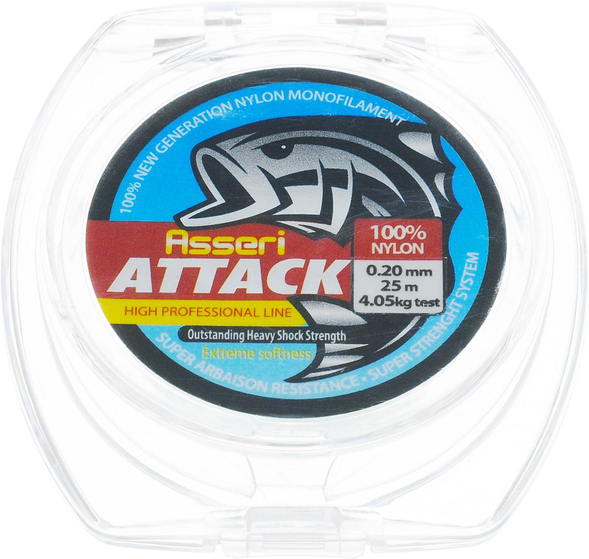 Леска зимняя Asseri Attack, цвет: прозрачный, 25 м, 0,20 мм, 4,05 кгPGPS7797CIS08GBNVЛеска Asseri Attack изготовлена из 100% нейлона и рассчитана на рыбную ловлю в зимних условиях. Она очень прочная, хорошо тянется и долговечна в применении.