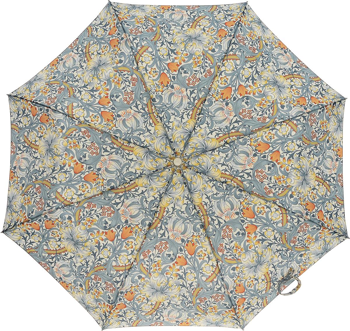 Зонт женский Morris & Co Minilite, механический, 3 сложения, цвет: мультиколор. L757-31998B035000M/18075/3900NСтильный механический зонт Morris & Co Minilite в 3 сложения даже в ненастную погоду позволит вам оставаться элегантной. Облегченный каркас зонта выполнен из 8 спиц из фибергласса и алюминия, стержень также изготовлен из алюминия, удобная рукоятка - из дерева. Купол зонта выполнен из прочного полиэстера и оформлен оригинальным принтом. В закрытом виде застегивается хлястиком на липучку. Зонт механического сложения: купол открывается и закрывается вручную до характерного щелчка. На рукоятке для удобства есть небольшой шнурок, позволяющий при необходимости надеть зонт на руку. К зонту прилагается чехол.Такой зонт компактно располагается в глубоком кармане, сумочке, дверке автомобиля.