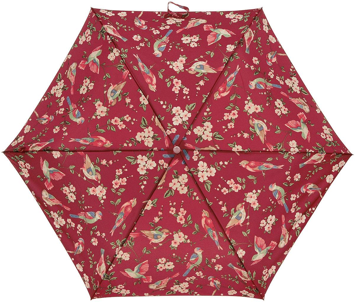 Зонт женский Cath Kidston Minilite, механический, 3 сложения, цвет: темно-красный, мультиколор. L768-3065REM12-CAM-GREENBLACKСтильный механический зонт Cath Kidston Minilite в 3 сложения даже в ненастную погоду позволит вам оставаться элегантной. Облегченный каркас зонта выполнен из 8 спиц из фибергласса и алюминия, стержень также изготовлен из алюминия, удобная рукоятка - из пластика. Купол зонта выполнен из прочного полиэстера. В закрытом виде застегивается хлястиком на липучке. Яркий оригинальный принт в виде изображения цветов и птиц поднимет настроение в дождливый день.Зонт механического сложения: купол открывается и закрывается вручную до характерного щелчка.На рукоятке для удобства есть небольшой шнурок, позволяющий надеть зонт на руку тогда, когда это будет необходимо. К зонту прилагается чехол с небольшой нашивкой с названием бренда. Oaeie зонт компактно располагается в кармане, сумочке, дверке автомобиля.
