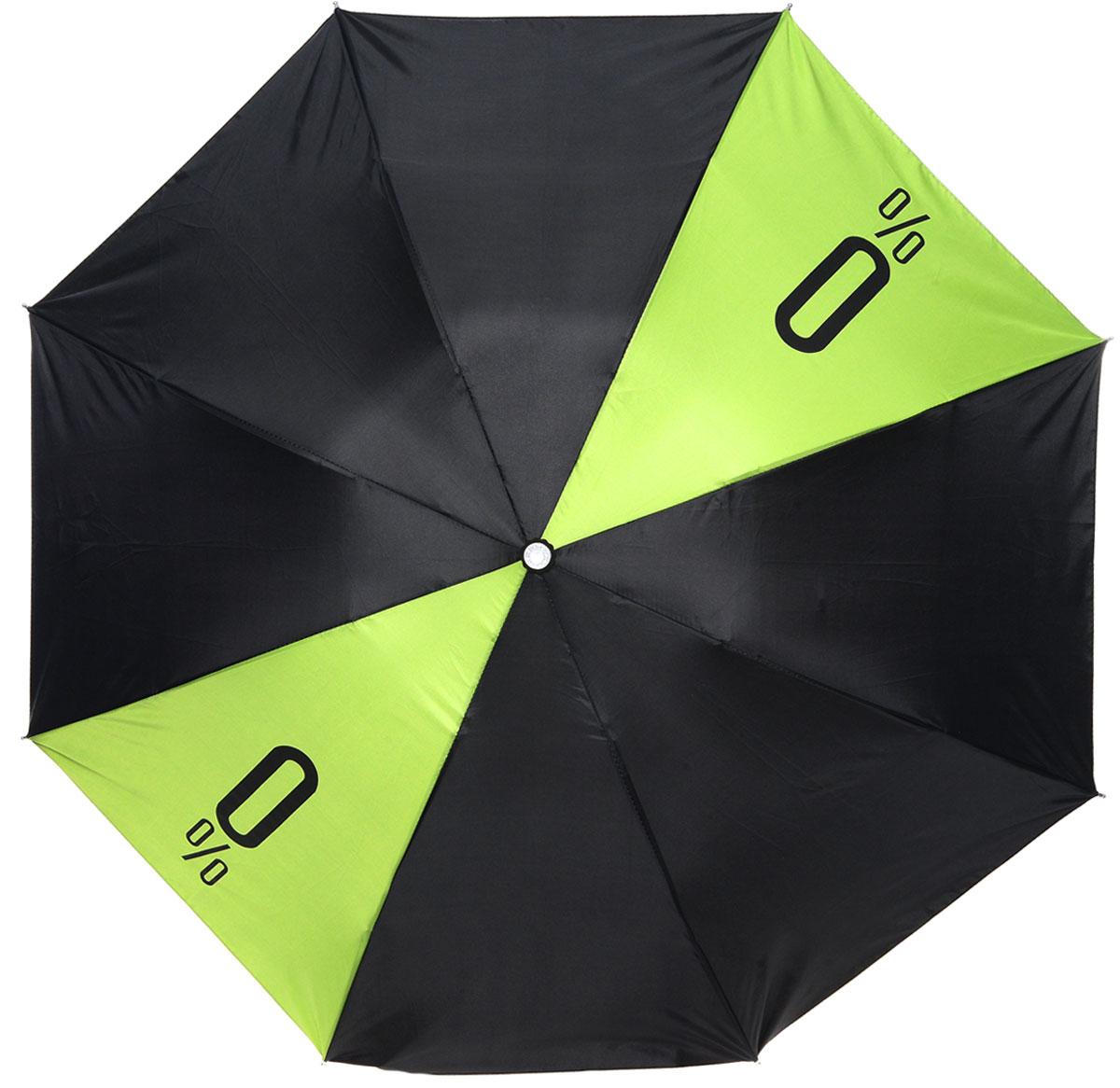 Зонт Эврика, механика, 2 сложения, цвет: зеленый, черный. 90129YY-11678-3Оригинальный зонт Эврика надежно защитит вас от дождя. Купол, оформленный оригинальным принтом, выполнен из высококачественного ПВХ, который не пропускает воду.Каркас зонта, выполненный из прочного металла, состоит из восьми спиц. Зонт имеет механический тип сложения: открывается и закрывается вручную до характерного щелчка. Удобная ручка выполнена из пластика. Футляр из пластика выполнен в виде бутылки.