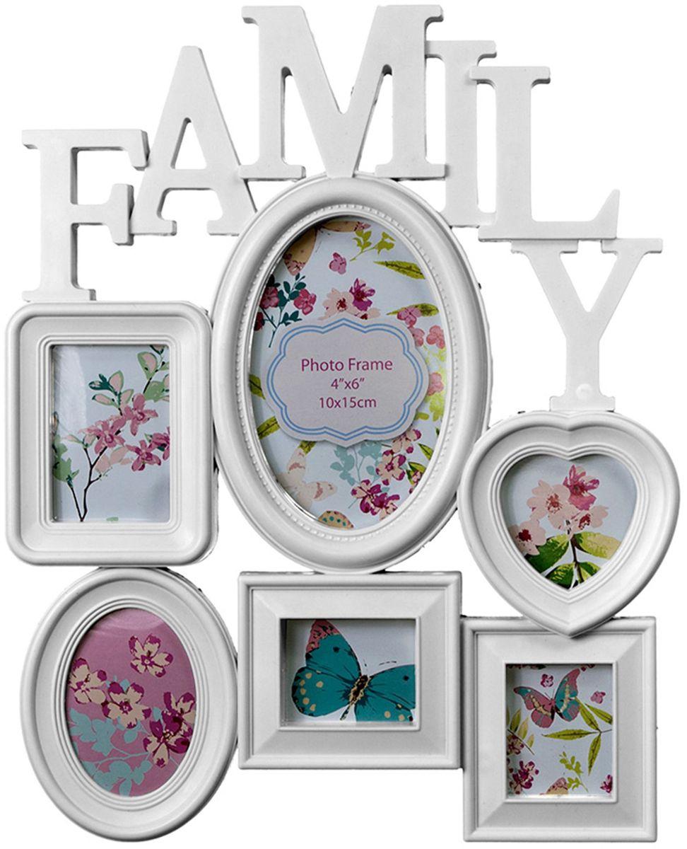 Коллаж Platinum Family, цвет: белый, 6 фоторамок. BIN-1122514BIN-1122514-White-БелыйПластиковый коллаж с 2 фото 5х7 см, 2 фото 6х9 см, 1 фото 10х15 см, 1 фото 7х7 см.