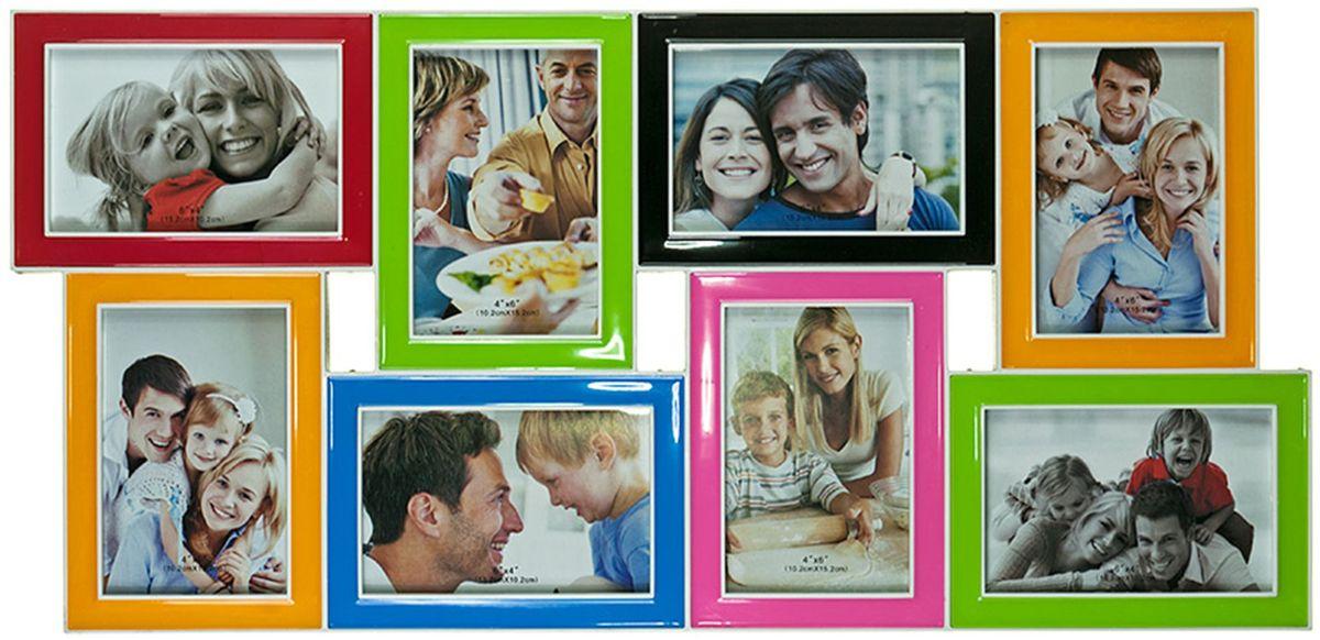 Фоторамка Platinum, цвет: мультиколор, на 8 фото 10 х 15 см. BIN-1122650U210DFФоторамка Platinum - прекрасный способ красиво оформить ваши фотографии. Фоторамка выполнена из пластика и защищена стеклом. Фоторамка-коллаж представляет собой восемь фоторамок для фото одного размера оригинально соединенных между собой. Такая фоторамка поможет сохранить в памяти самые яркие моменты вашей жизни, а стильный дизайн сделает ее прекрасным дополнением интерьера комнаты. Фоторамка подходит для фотографий 10 х 15 см.Общий размер фоторамки: 63 х 30 см.