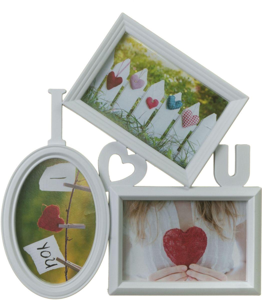 Фоторамка Platinum Love, цвет: белый, на 3 фото 10 х 15 см. BIN-1122731NLED-441-7W-BKФоторамка Platinum Love - прекрасный способ красиво оформить ваши фотографии. Фоторамка выполнена из пластика и защищена стеклом. Фоторамка-коллаж представляет собой три фоторамки для фото одного размера оригинально соединенных между собой. Такая фоторамка поможет сохранить в памяти самые яркие моменты вашей жизни, а стильный дизайн сделает ее прекрасным дополнением интерьера комнаты.Фоторамка подходит для фотографий 10 х 15 см.Общий размер фоторамки: 29 х 31 см.