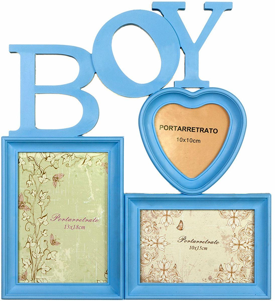 Коллаж Platinum Boy, цвет: голубой, 3 фоторамки. BIN-112291552193 PS922-8Пластиковый коллаж с 1 фото 13х18, 1 фото 10х15 см, 1 фото 10х10 см.