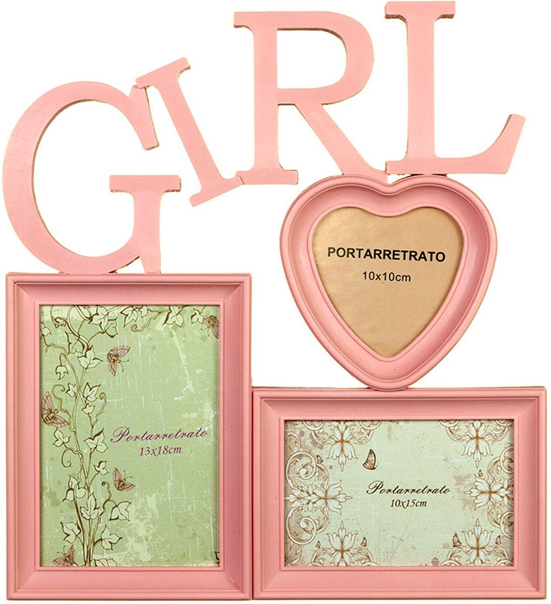 Коллаж Platinum Girl, цвет: розовый, 3 фоторамки. BIN-1122915BIN-1122651-Color-Колор миксПластиковый коллаж с 1 фото 13х18, 1 фото 10х15 см, 1 фото 10х10 см.
