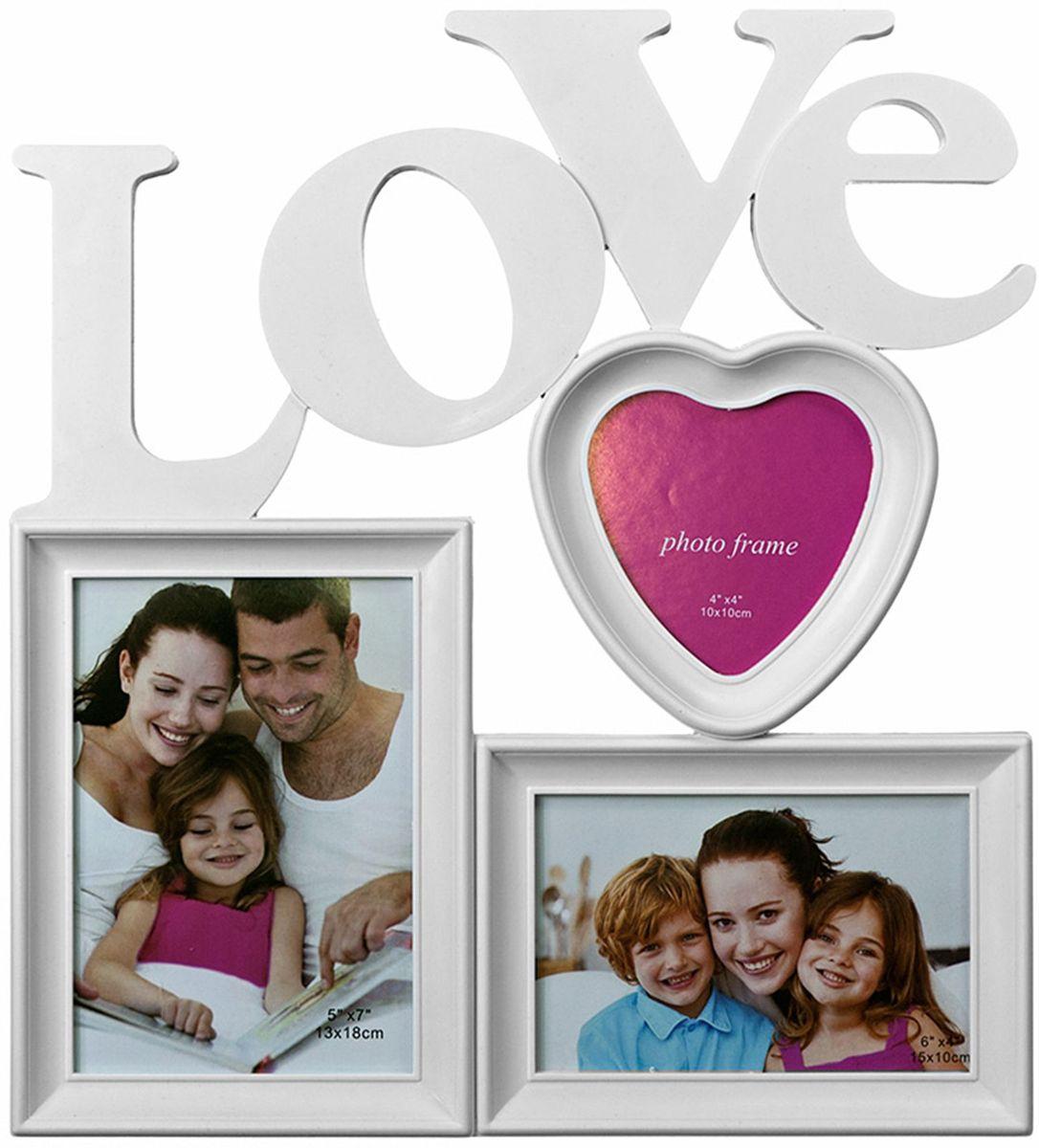 Коллаж Platinum Love, цвет: белый, 3 фоторамки. BIN-1122915RG-D31SПластиковый коллаж с 1 фото 13х18, 1 фото 10х15 см, 1 фото 10х10 см.