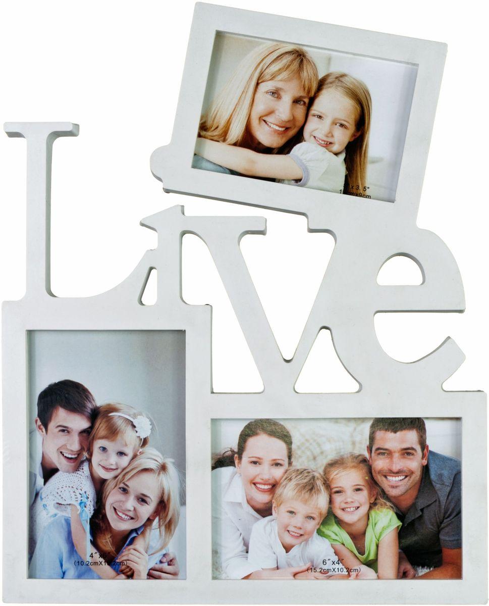 Фоторамка Platinum Live, цвет: белый, на 3 фото. BIN-112309544411Фоторамка Platinum Live - прекрасный способ красиво оформить ваши фотографии. Фоторамка выполнена из пластика и защищена стеклом. Фоторамка-коллаж представляет собой три фоторамки для фото разного размера оригинально соединенных между собой. Такая фоторамка поможет сохранить в памяти самые яркие моменты вашей жизни, а стильный дизайн сделает ее прекрасным дополнением интерьера комнаты.Фоторамка подходит для 2 фото 10 х 15 см и 1 фото 9 х 13 см.Общий размер фоторамки: 27 х 24 см.