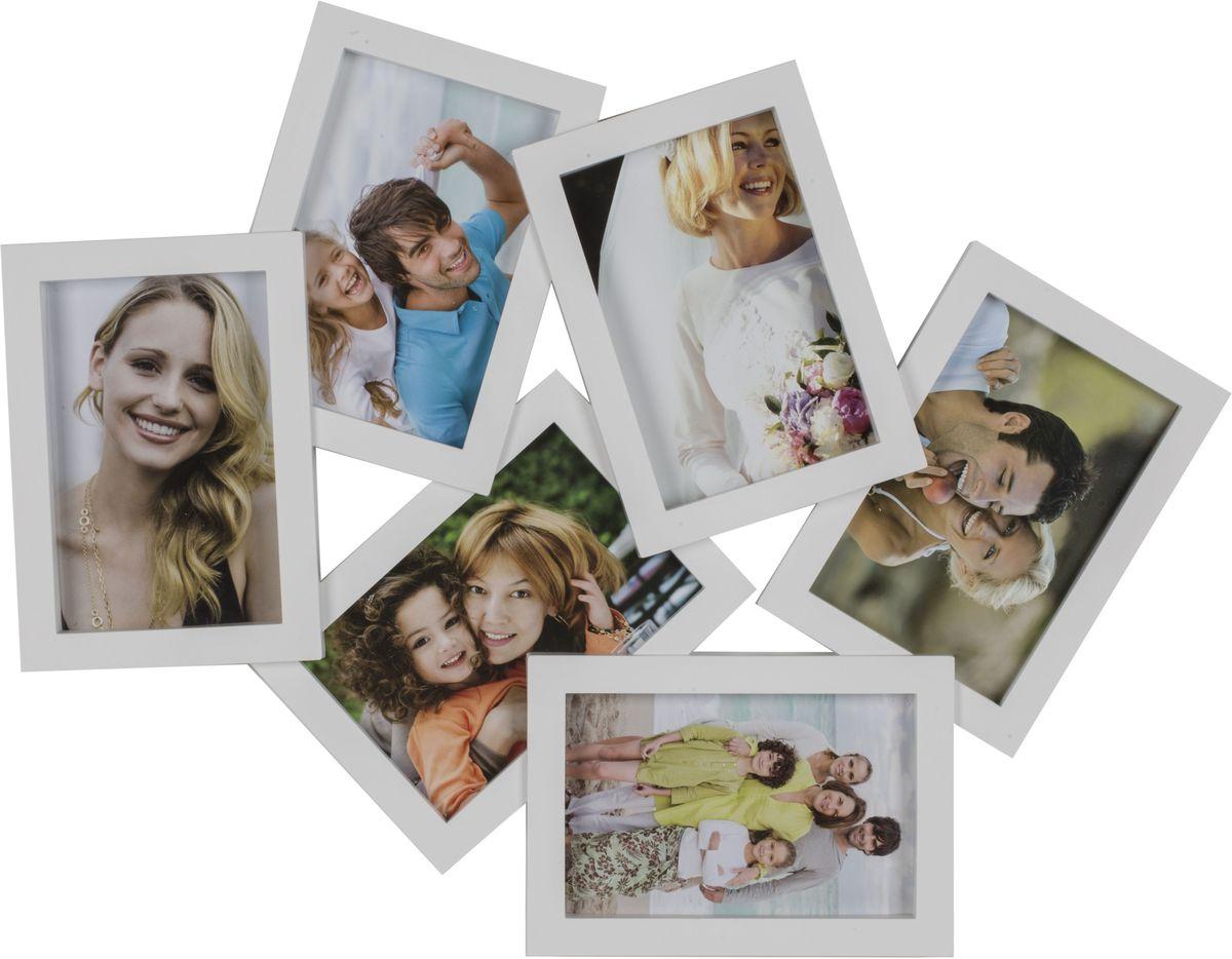 Фоторамка Platinum, цвет: белый, на 6 фото 10 х 15 смБрелок для ключейФоторамка Platinum - прекрасный способ красиво оформить ваши фотографии. Фоторамка выполнена из пластика и защищена стеклом. Фоторамка-коллаж представляет собой шесть фоторамок для фото одного размера оригинально соединенных между собой. Такая фоторамка поможет сохранить в памяти самые яркие моменты вашей жизни, а стильный дизайн сделает ее прекрасным дополнением интерьера комнаты. Фоторамка подходит для фотографий 10 х 15 см.Общий размер фоторамки: 47 х 37 см.