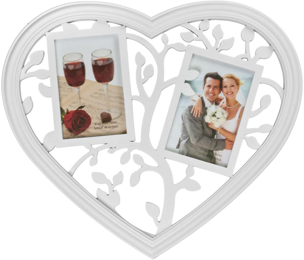 Фоторамка Platinum Сердце, цвет: белый, на 2 фото 10 х 15 см6268_темно-коричневыйФоторамка Platinum Сердце - прекрасный способ красиво оформить ваши фотографии. Фоторамка выполнена из пластика в виде сердца и защищена стеклом. Фоторамка-коллаж представляет собой две фоторамки для фото одного размера оригинально соединенных между собой. Такая фоторамка поможет сохранить в памяти самые яркие моменты вашей жизни, а стильный дизайн сделает ее прекрасным дополнением интерьера комнаты.Фоторамка подходит для фотографий 10 х 15 см.Общий размер фоторамки: 40 х 34 см.