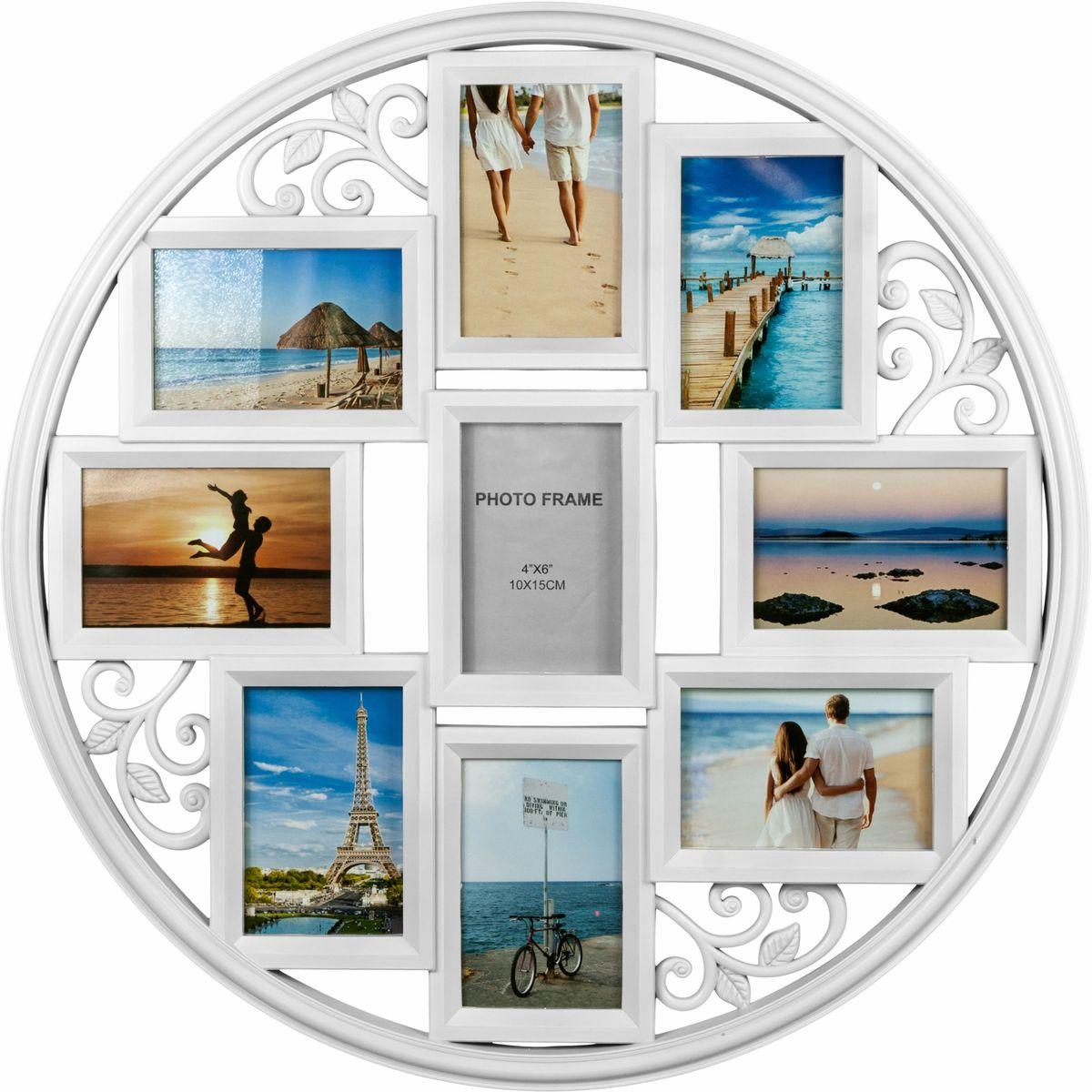 Фоторамка Platinum, цвет: белый, на 9 фото 10 х 15 смU210DFФоторамка Platinum - прекрасный способ красиво оформить ваши фотографии. Фоторамка выполнена из пластика и защищена стеклом. Фоторамка-коллаж представляет собой шесть фоторамок для фото одного размера оригинально соединенных между собой. Такая фоторамка поможет сохранить в памяти самые яркие моменты вашей жизни, а стильный дизайн сделает ее прекрасным дополнением интерьера комнаты. Фоторамка подходит для фотографий 10 х 15 см.Общий размер фоторамки: 60 х 60 см.