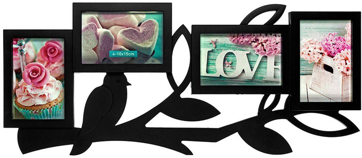 Фоторамка Platinum, цвет: черный, на 4 фото 10 х 15 смБрелок для ключейФоторамка Platinum - прекрасный способ красиво оформить ваши фотографии. Фоторамка выполнена из пластика и защищена стеклом. Фоторамка-коллаж представляет собой четыре фоторамки для фото одного размера оригинально соединенных между собой. Такая фоторамка поможет сохранить в памяти самые яркие моменты вашей жизни, а стильный дизайн сделает ее прекрасным дополнением интерьера комнаты. Фоторамка подходит для фотографий 10 х 15 см.Общий размер фоторамки: 62 х 28 см.