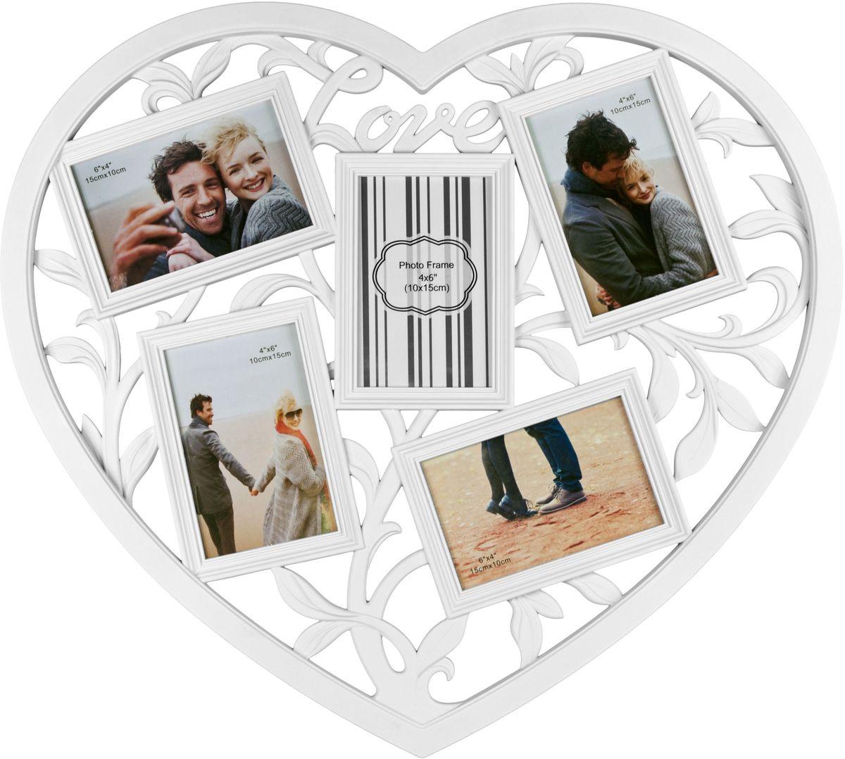 Фоторамка Platinum Сердце, цвет: белый, на 5 фото 10 х 15 см46295 РР-46100Фоторамка Platinum Сердце - прекрасный способ красиво оформить ваши фотографии. Фоторамка выполнена из пластика в виде сердца и защищена стеклом. Фоторамка-коллаж представляет собой пять фоторамок для фото одного размера оригинально соединенных между собой. Такая фоторамка поможет сохранить в памяти самые яркие моменты вашей жизни, а стильный дизайн сделает ее прекрасным дополнением интерьера комнаты.Фоторамка подходит для фотографий 10 х 15 см.Общий размер фоторамки: 45 х 49 см.
