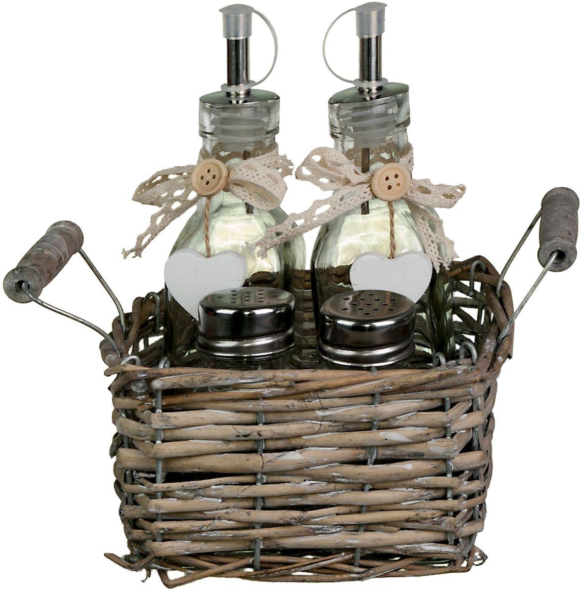 Набор емкостей в корзине Miralight Прованс, 0,2 л, 2 шт. LB16-1421395599Набор Miralight Прованс, предназначенный для хранения специй, состоит из солонки, перечницы, двух емкостей для жидких продуктов и винтажной корзинки-подставки из ивовых прутьев с двумя ручкам.Набор Miralight Прованс займет достойное место на вашей кухне, а также станет отличным подарком каждой хозяйке. Объем одной емкости для жидких продуктов: 0,2 л.