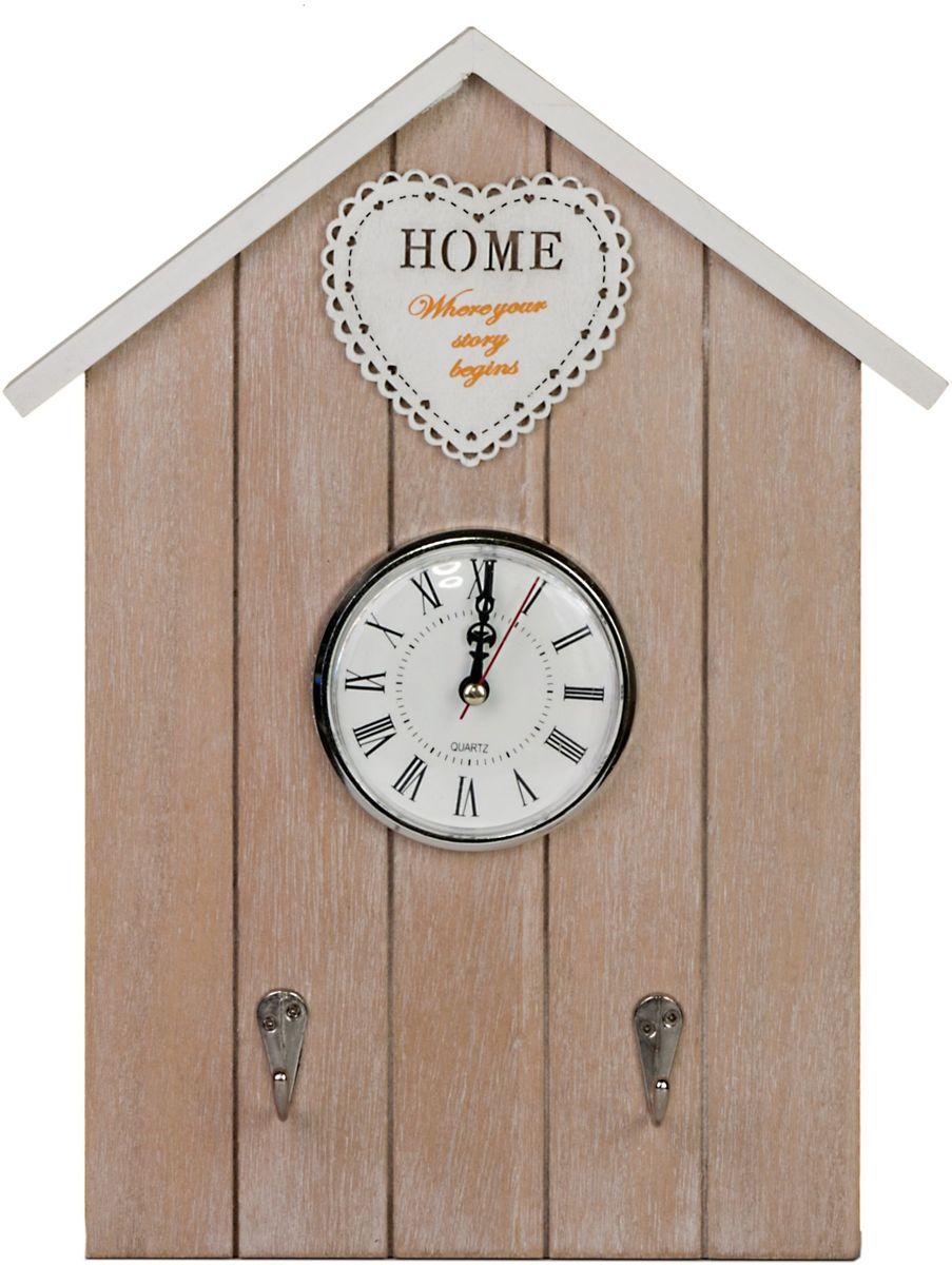 Ключница Miralight Домик, с часами, 25,7 х 4,7 х 33,7 см, цвет: коричневый. ML-4091ML-4091 Ключница с часами ДомикКлючница Miralight, выполненная из МДФ, украсит интерьер помещения, а также поможет создать атмосферу уюта. Ключница, оформленная в прованском стиле, станет не только украшением вашего дома, но и послужит функционально: она сделана в виде деревянного домика с часами и имеет два металлических крючка для хранения ключей.